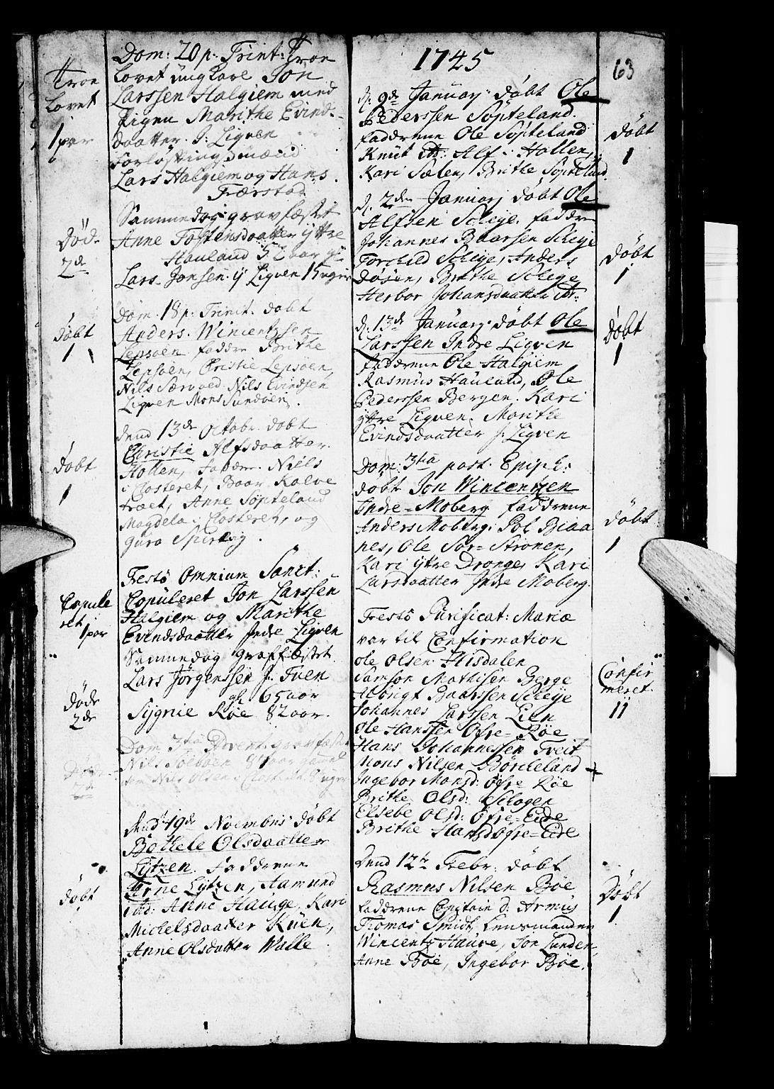 SAB, Os sokneprestembete*, Parish register (official) no. A 2, 1723-1758, p. 63