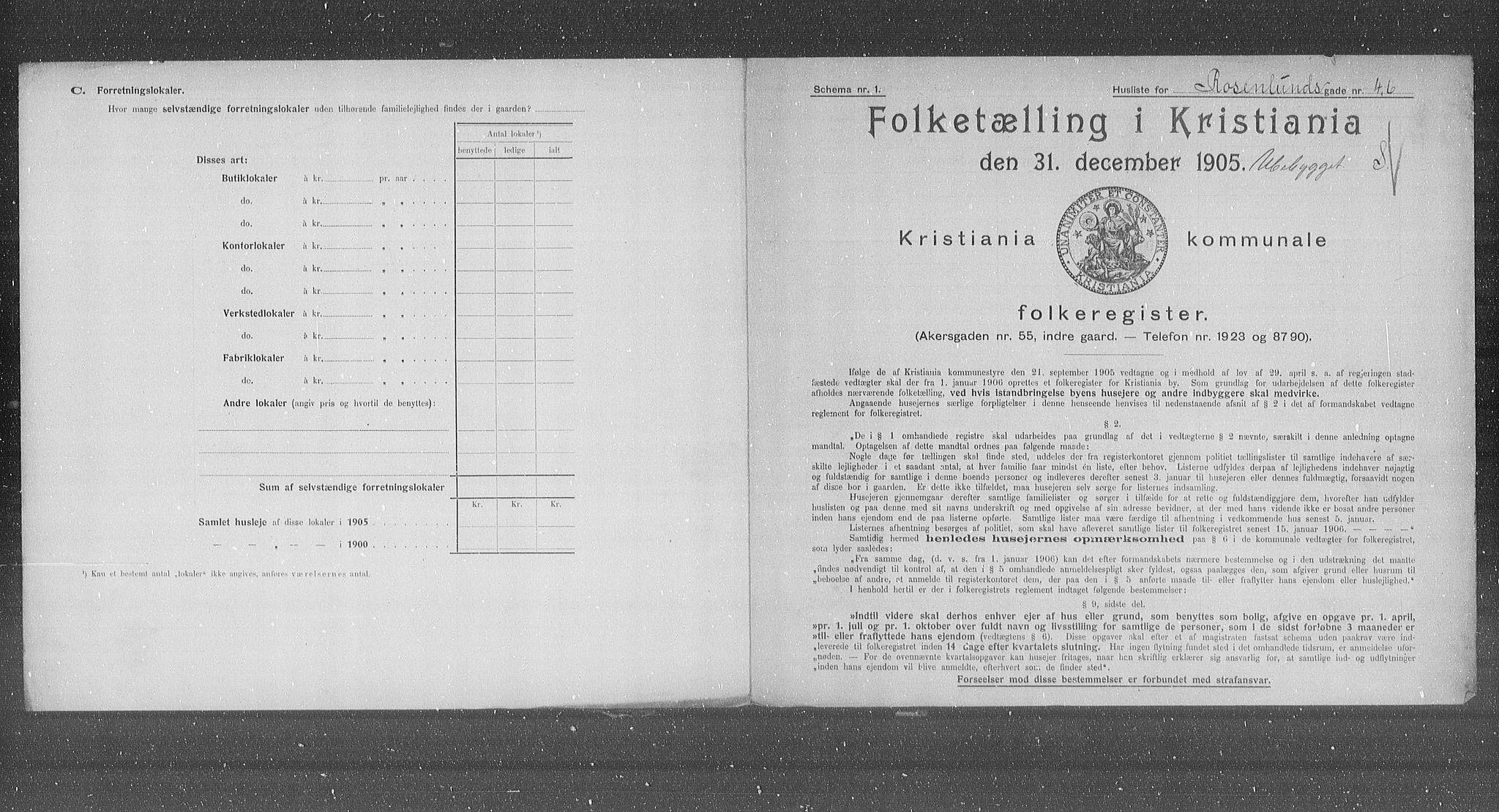 OBA, Municipal Census 1905 for Kristiania, 1905, p. 44300
