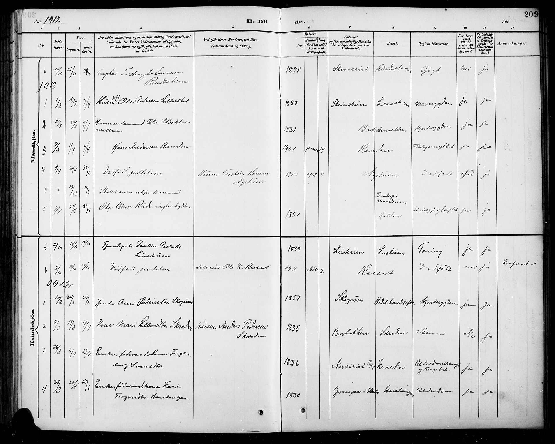 SAH, Sel prestekontor, Parish register (copy) no. 5, 1894-1923, p. 209