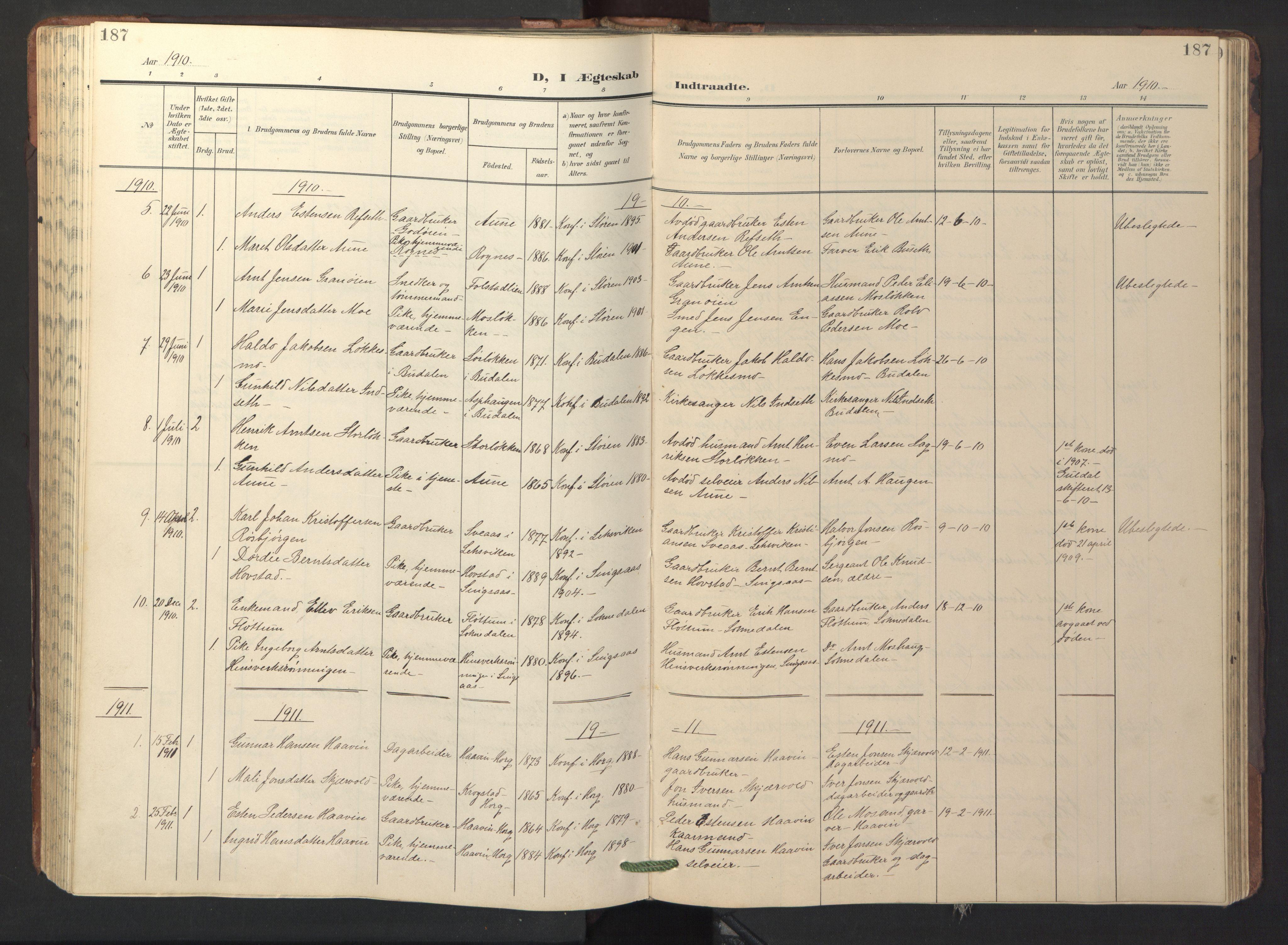 SAT, Ministerialprotokoller, klokkerbøker og fødselsregistre - Sør-Trøndelag, 687/L1019: Parish register (copy) no. 687C03, 1904-1931, p. 187