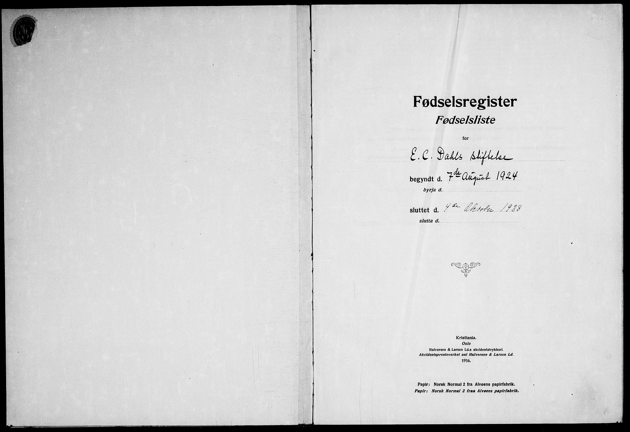 SAT, Ministerialprotokoller, klokkerbøker og fødselsregistre - Sør-Trøndelag, 600/L0004: Birth register no. 600.II.4.3, 1924-1928