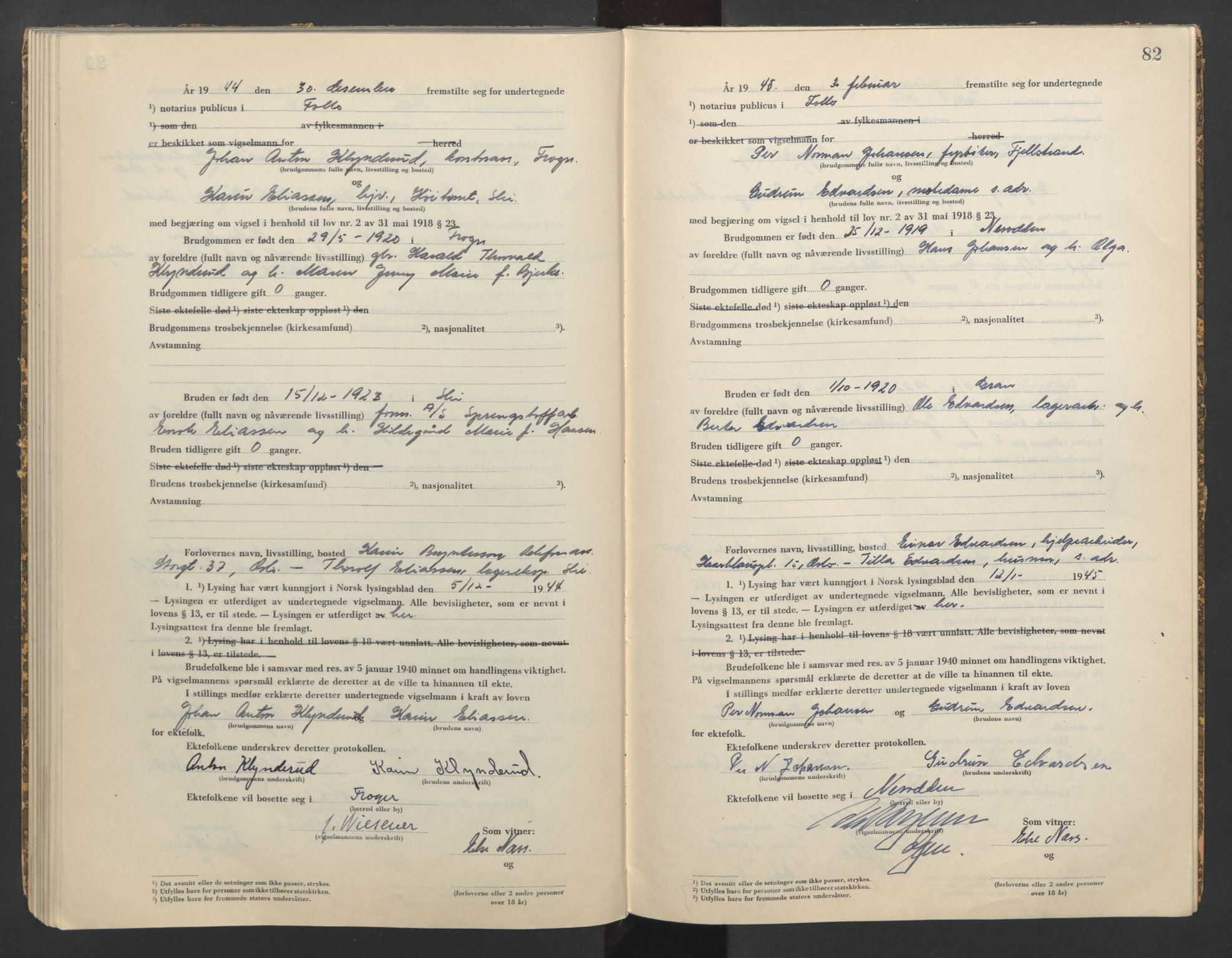 SAO, Follo sorenskriveri, L/La/Lab/L0002: Vigselsbok, 1942-1946, p. 82