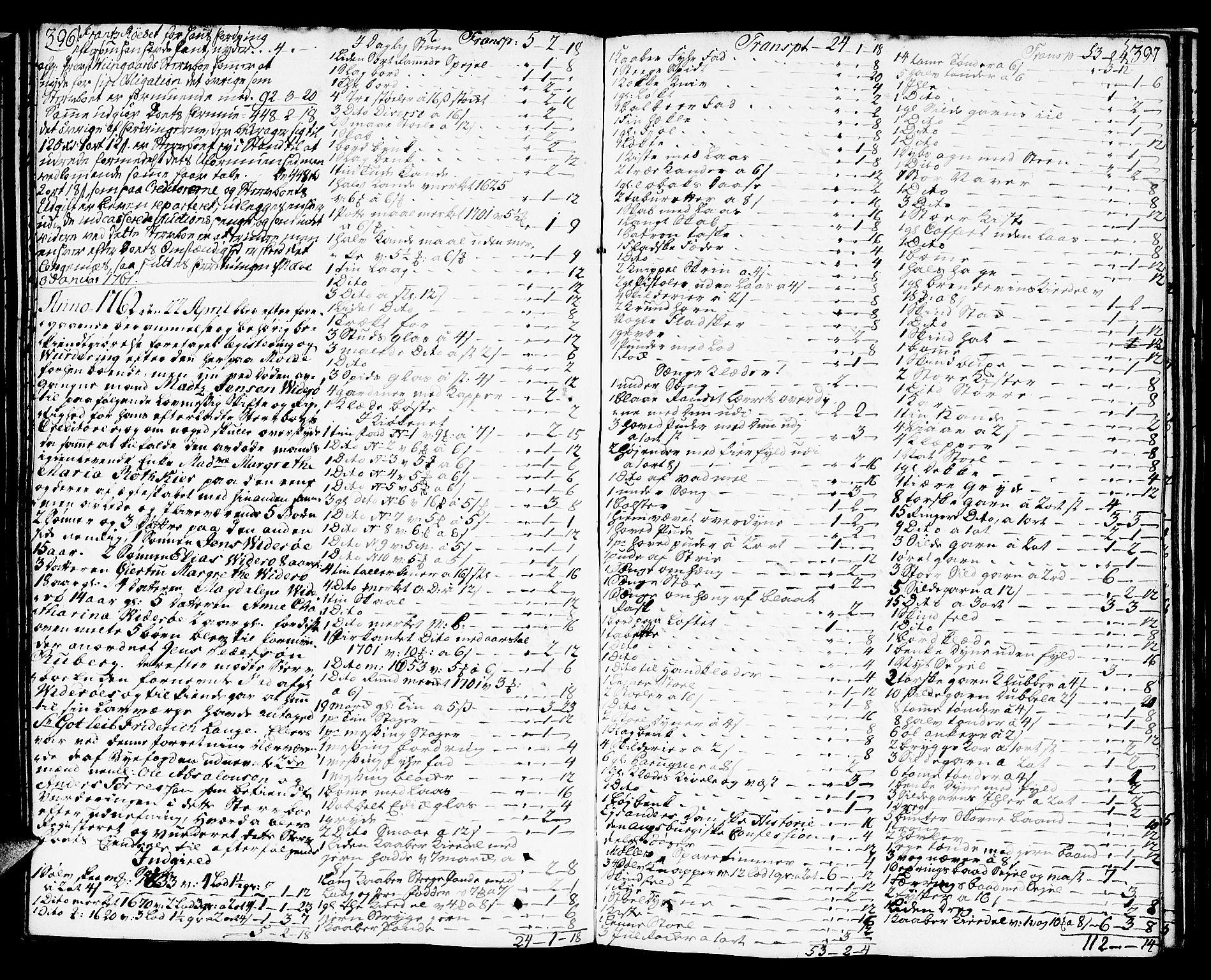 SAT, Molde byfogd, 3/3Aa/L0001: Skifteprotokoll, 1748-1768, p. 396-397