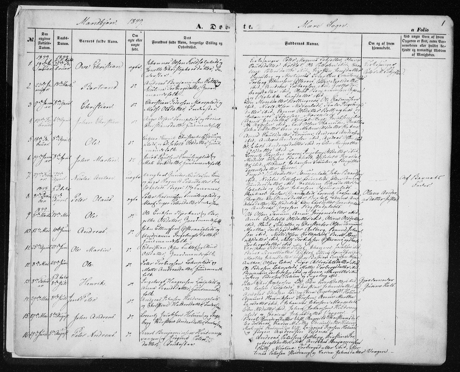 SAT, Ministerialprotokoller, klokkerbøker og fødselsregistre - Nord-Trøndelag, 735/L0342: Parish register (official) no. 735A07 /1, 1849-1862, p. 1