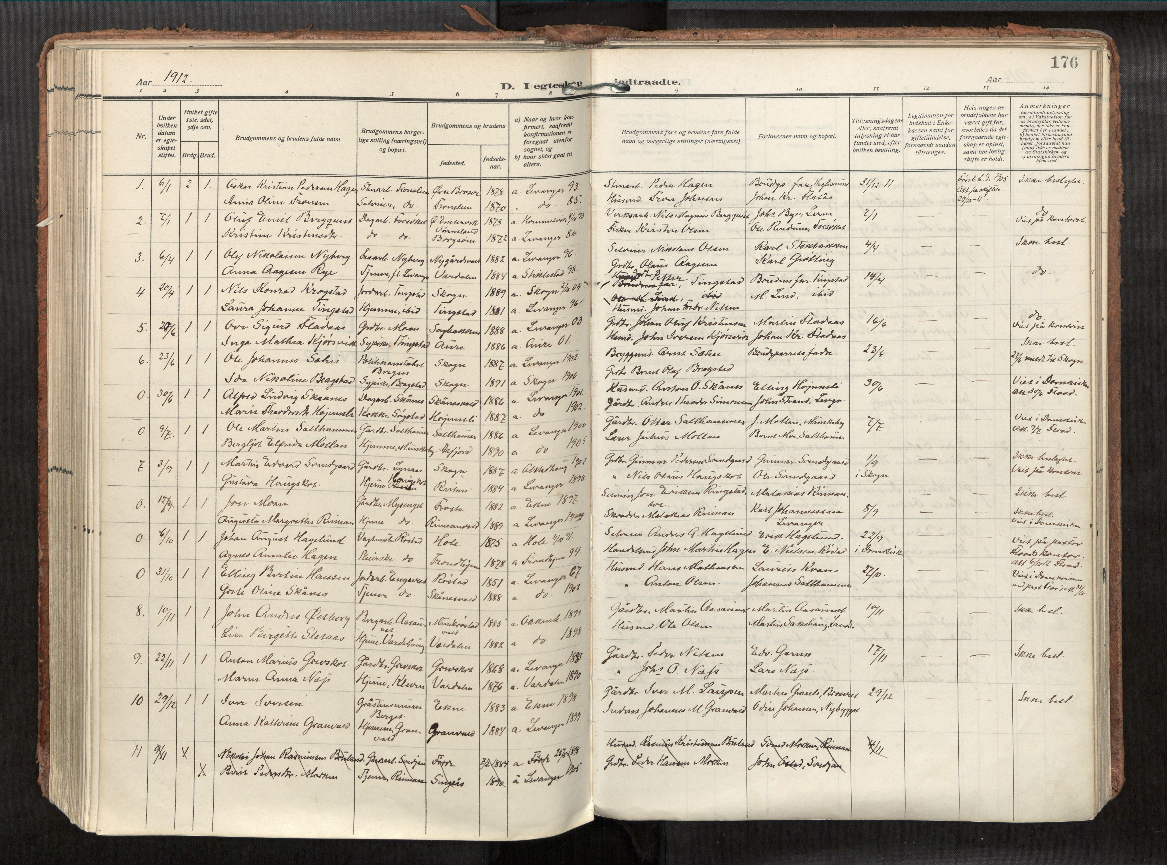 SAT, Levanger sokneprestkontor*, Parish register (official) no. 1, 1912-1935, p. 176