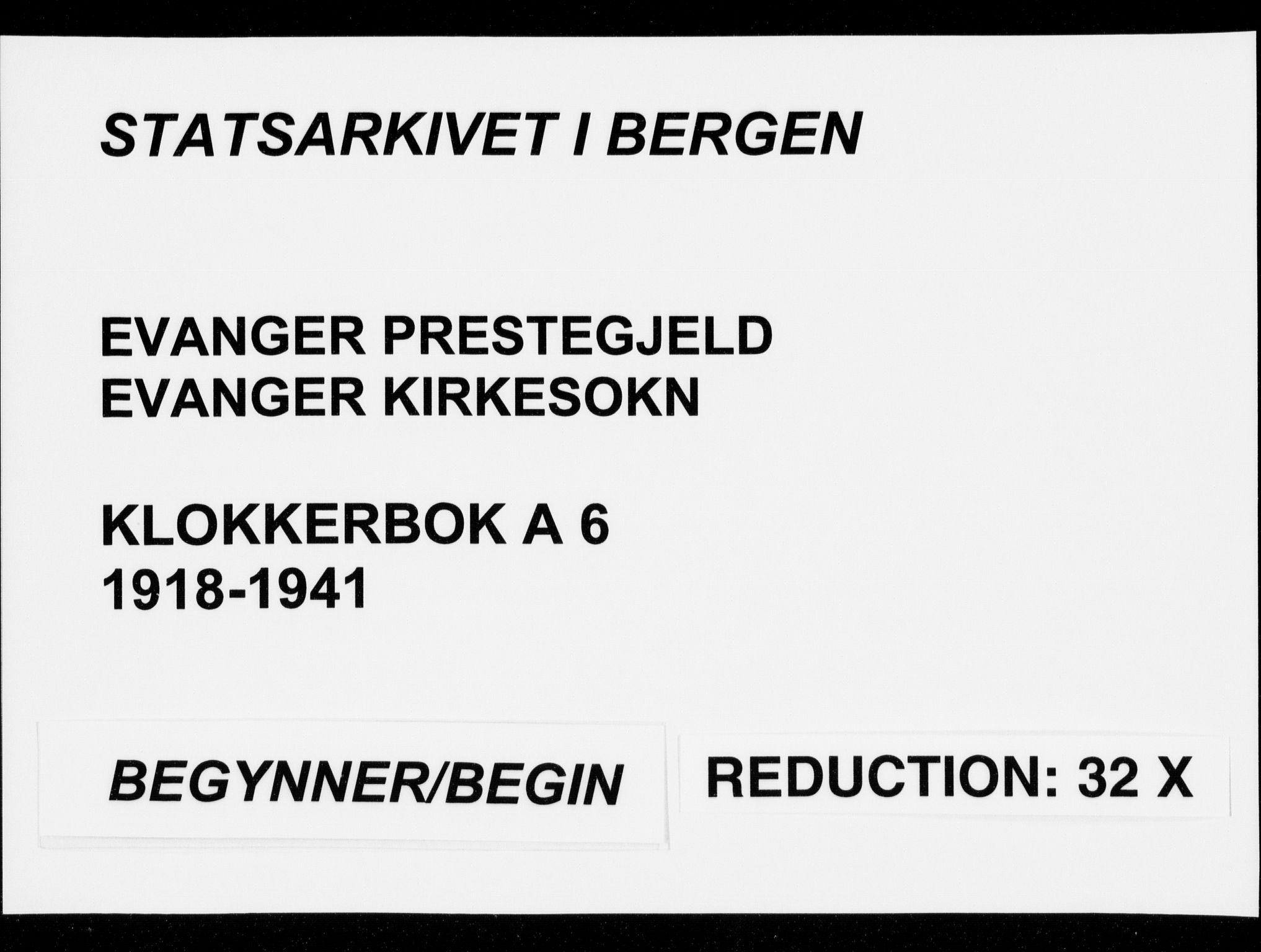 SAB, Evanger sokneprestembete*, Parish register (copy) no. A 6, 1918-1941