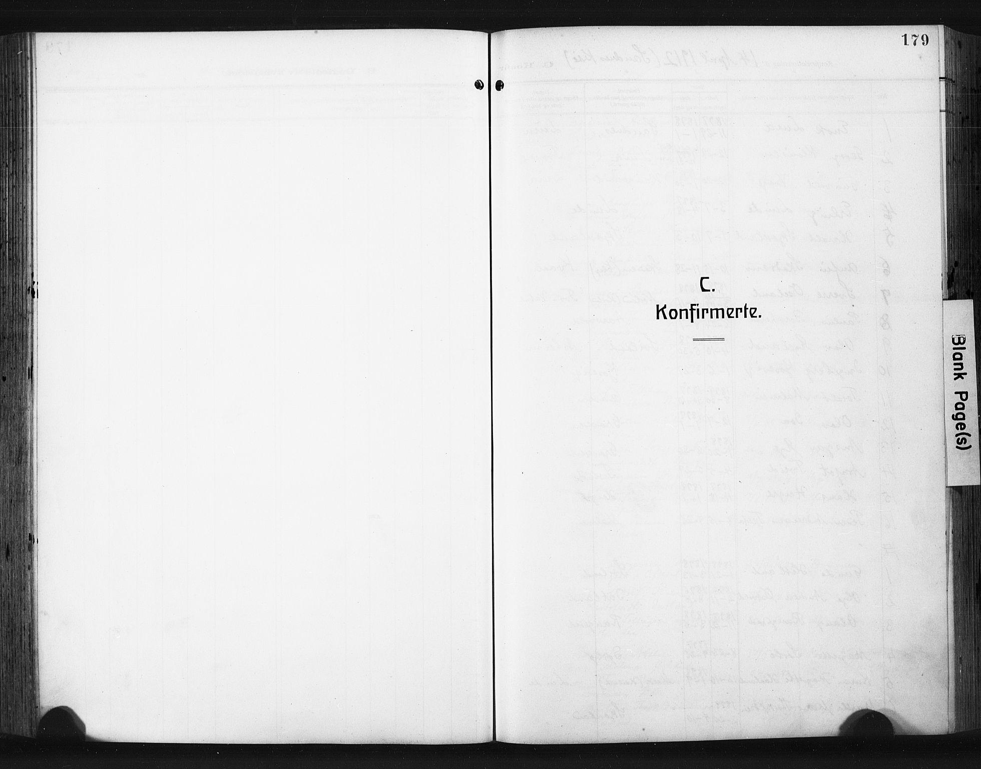 SAST, Høyland sokneprestkontor, 30BA/L0017: Parish register (official) no. A 15, 1912-1924, p. 179