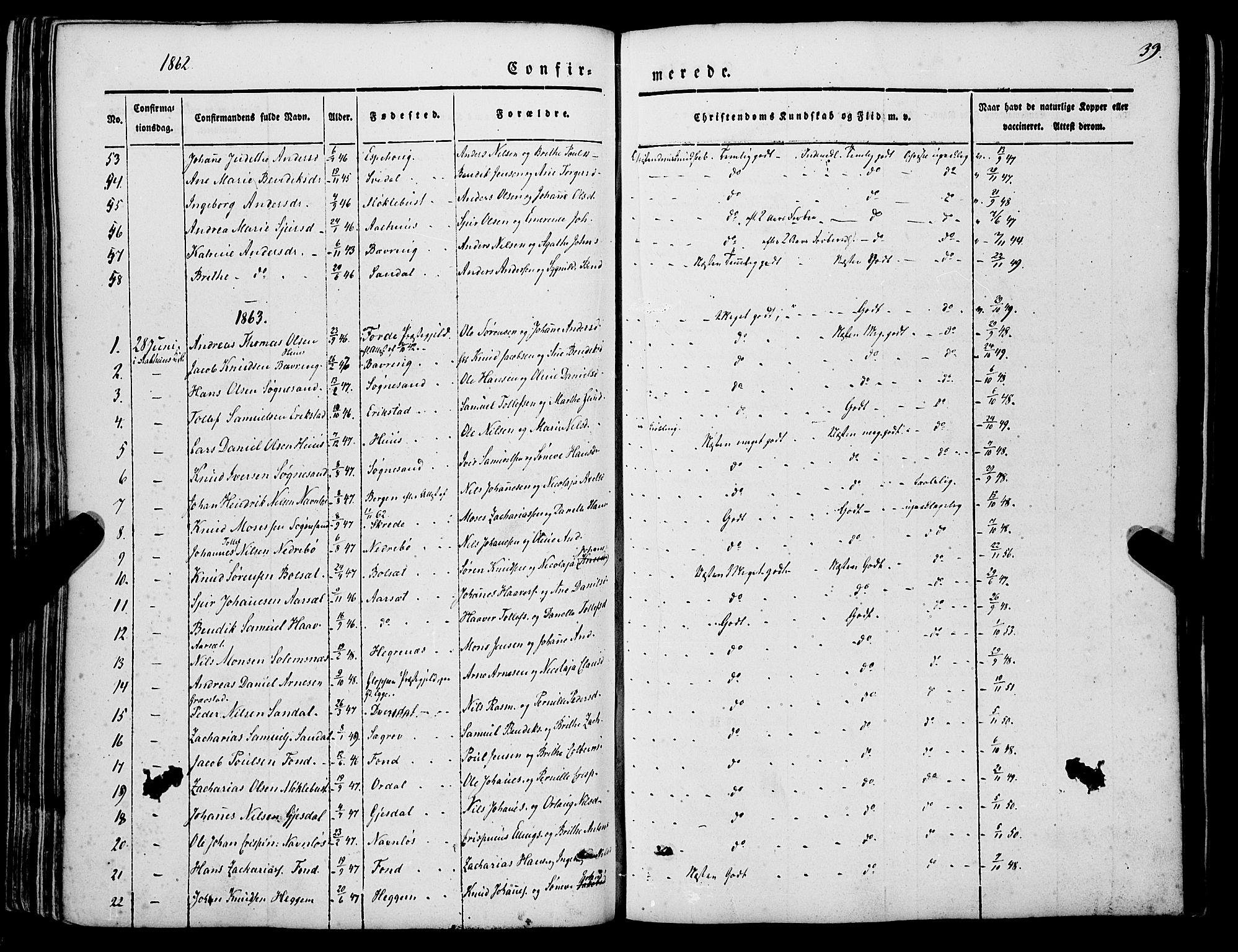 SAB, Jølster sokneprestembete, H/Haa/Haaa/L0010: Parish register (official) no. A 10, 1847-1865, p. 39