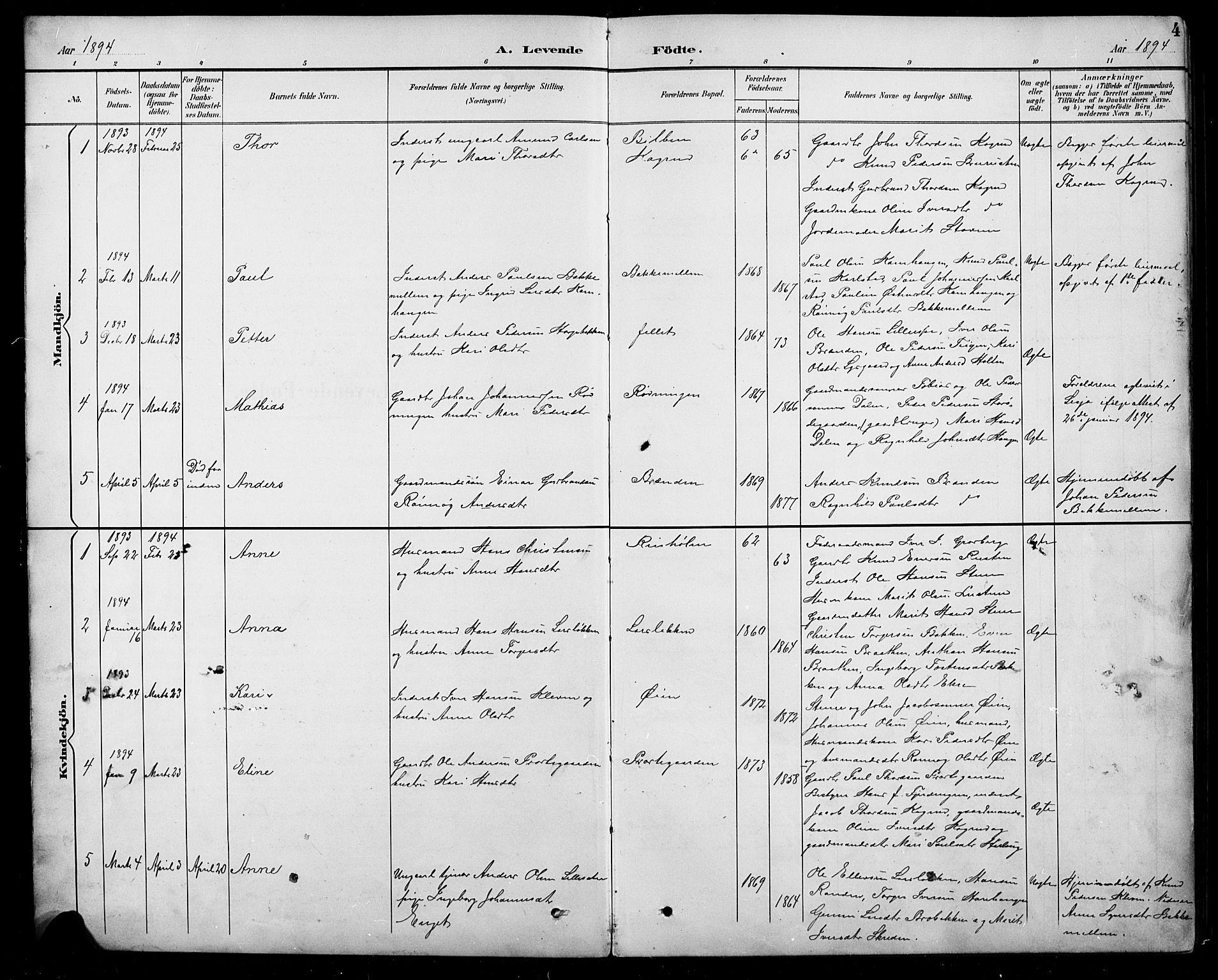SAH, Sel prestekontor, Parish register (copy) no. 5, 1894-1923, p. 4