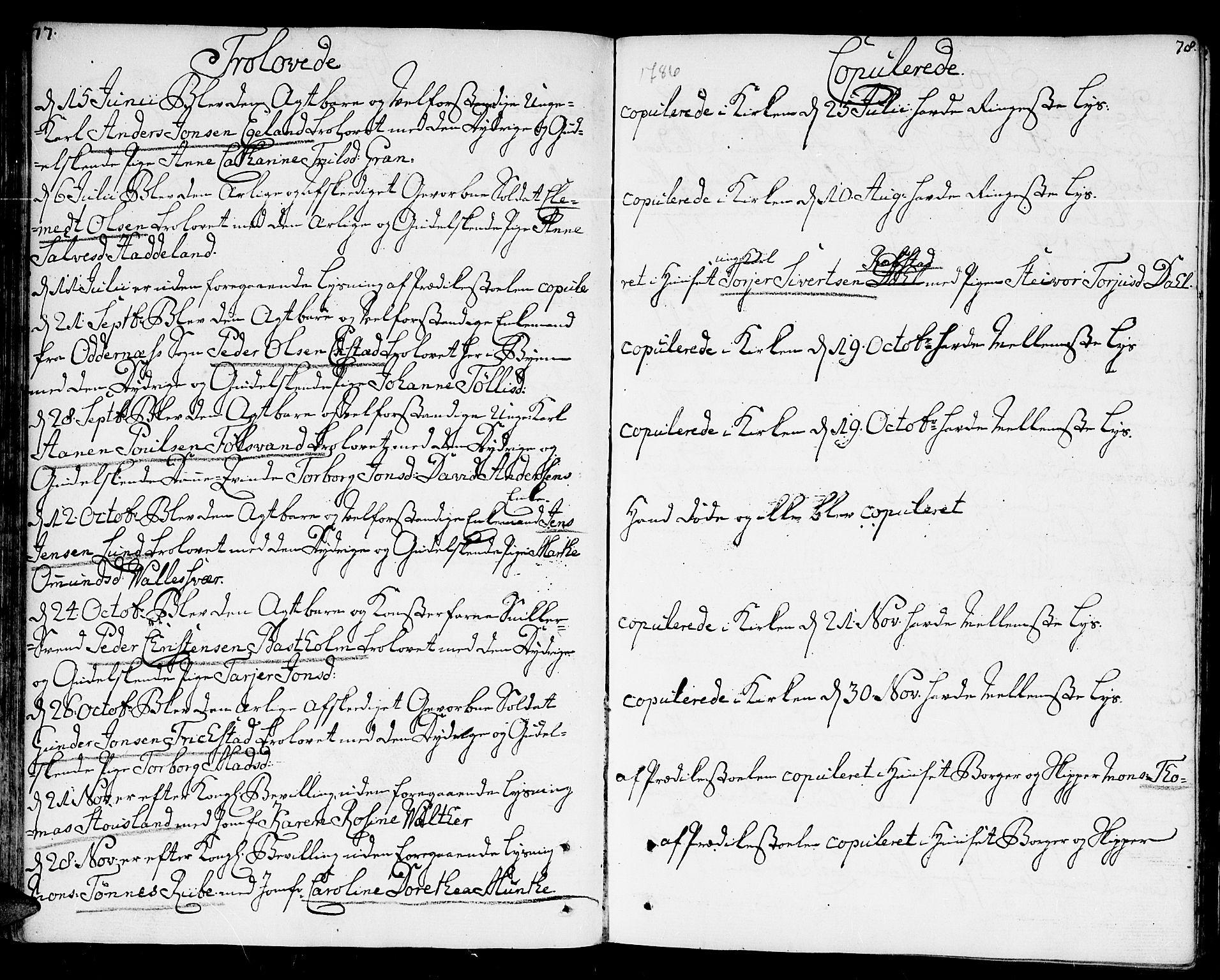 SAK, Kristiansand domprosti, F/Fa/L0005: Parish register (official) no. A 5, 1776-1818, p. 77-78