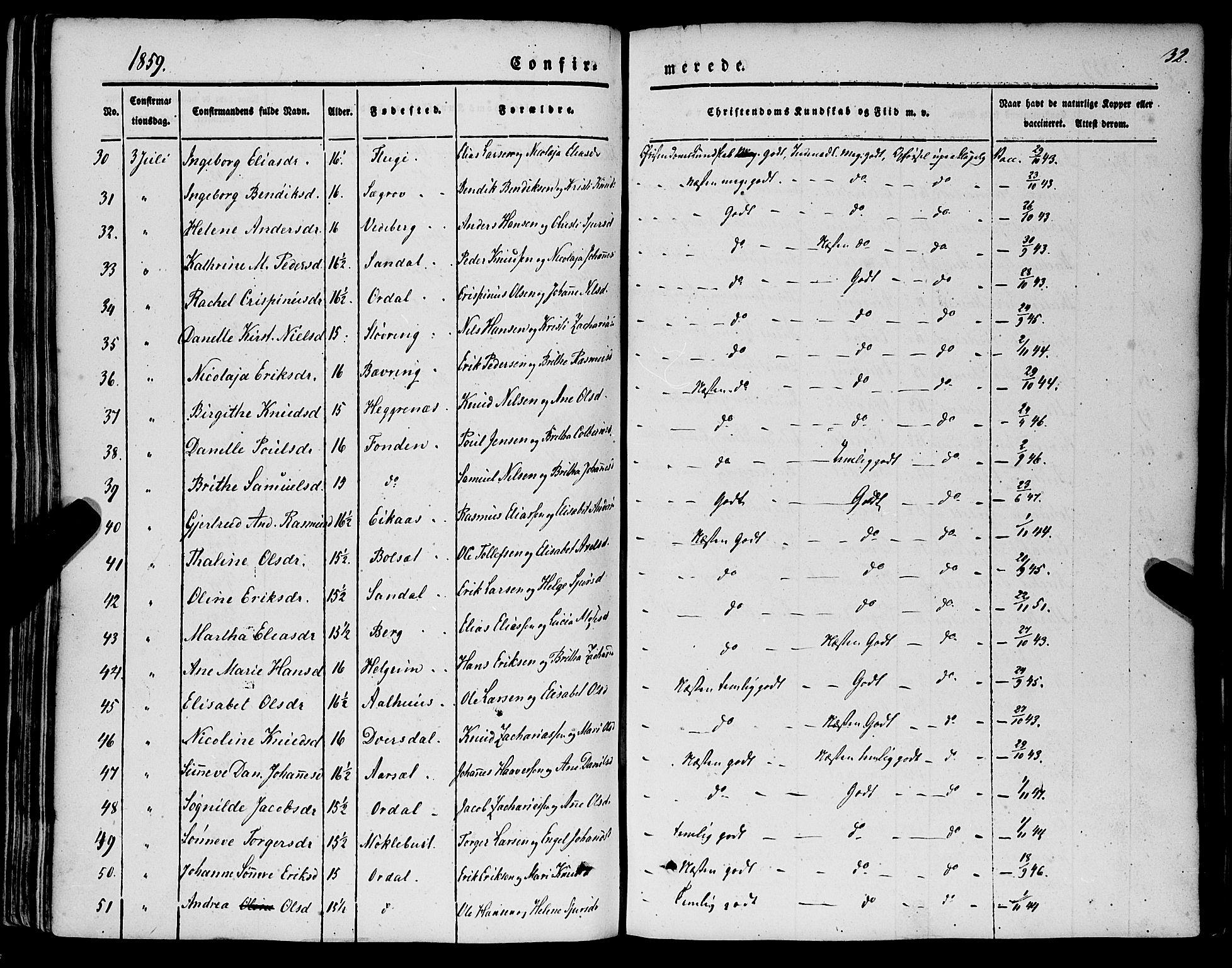 SAB, Jølster sokneprestembete, H/Haa/Haaa/L0010: Parish register (official) no. A 10, 1847-1865, p. 32