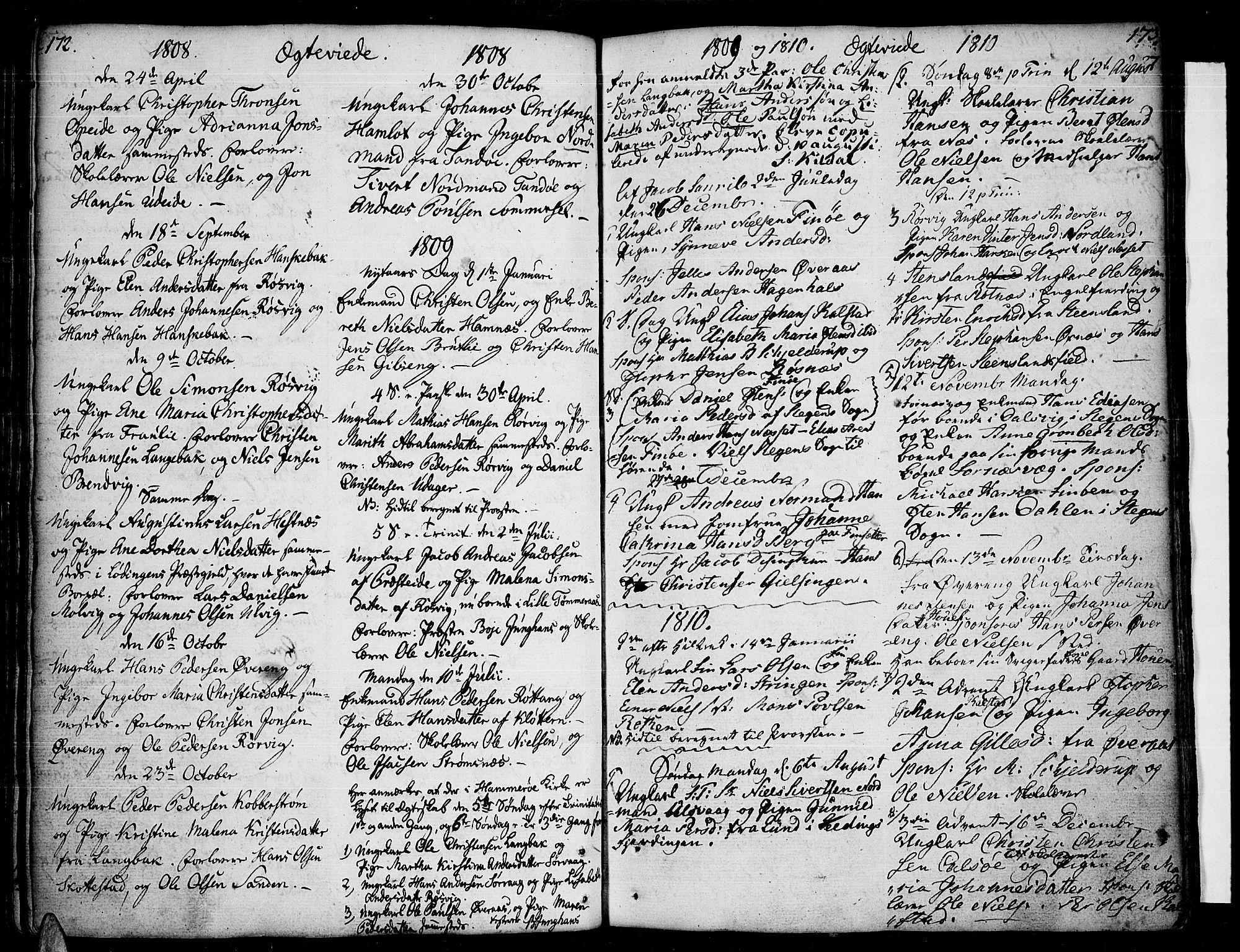 SAT, Ministerialprotokoller, klokkerbøker og fødselsregistre - Nordland, 859/L0841: Parish register (official) no. 859A01, 1766-1821, p. 172-173