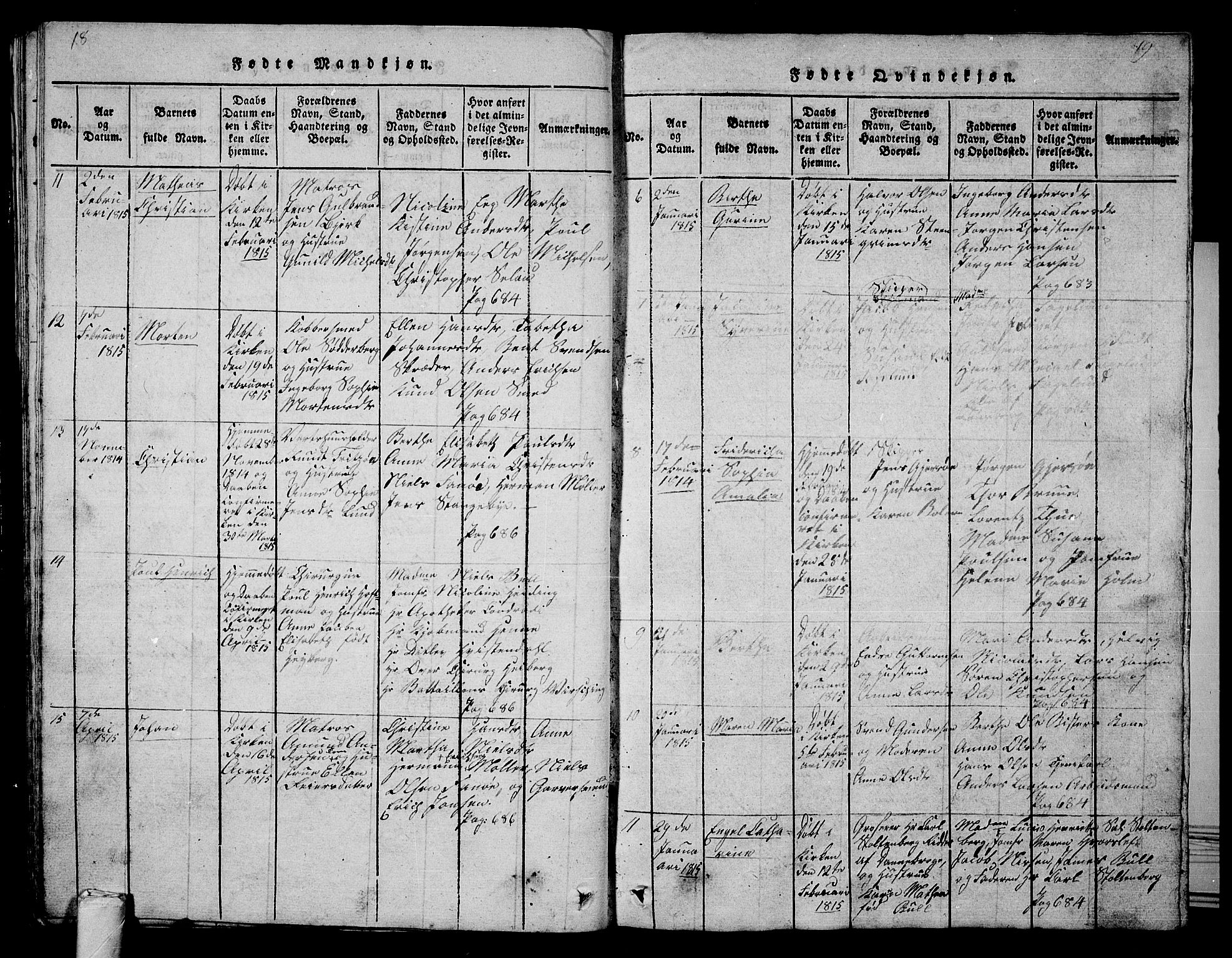 SAKO, Tønsberg kirkebøker, G/Ga/L0001: Parish register (copy) no. 1, 1813-1826, p. 18-19