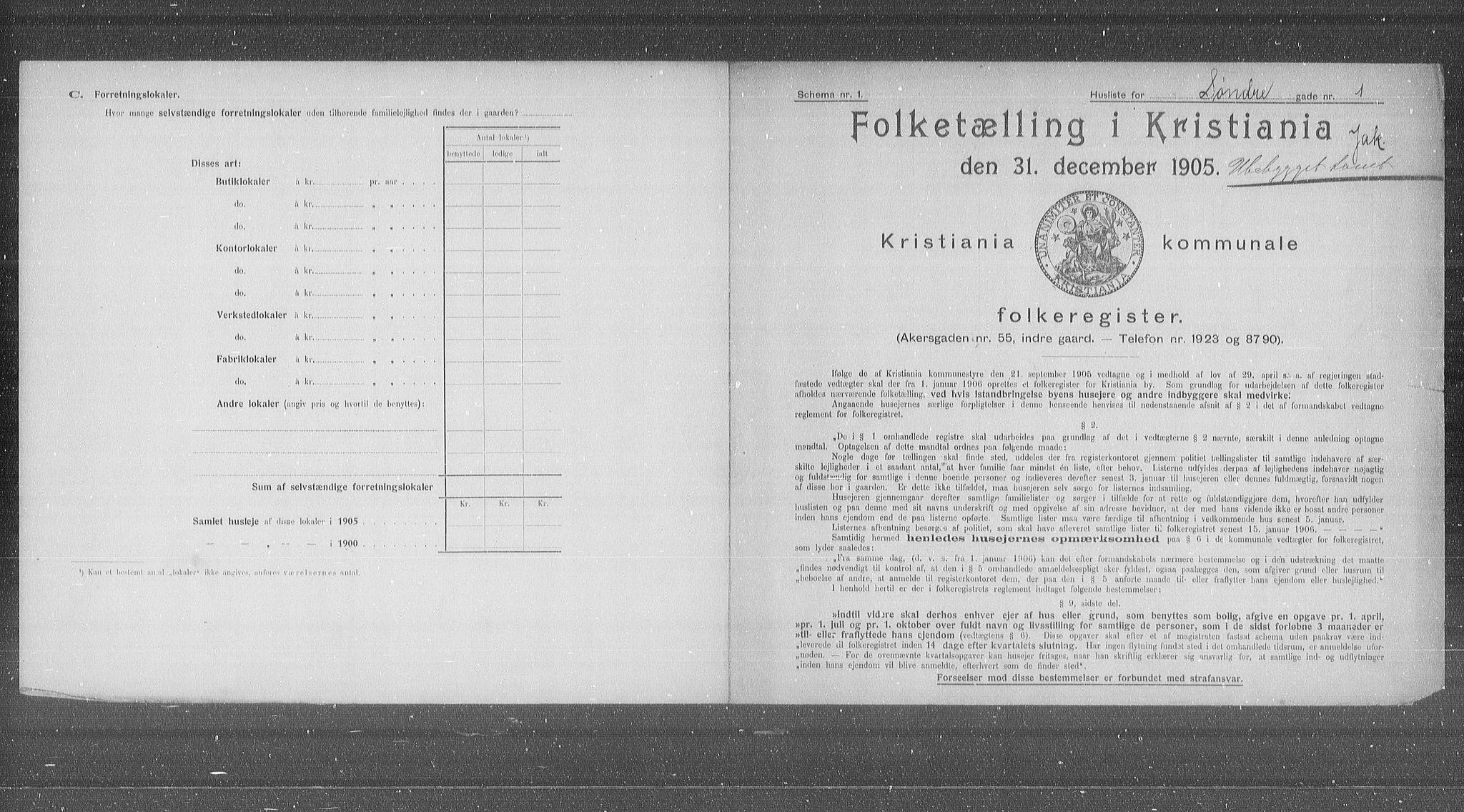 OBA, Municipal Census 1905 for Kristiania, 1905, p. 55651