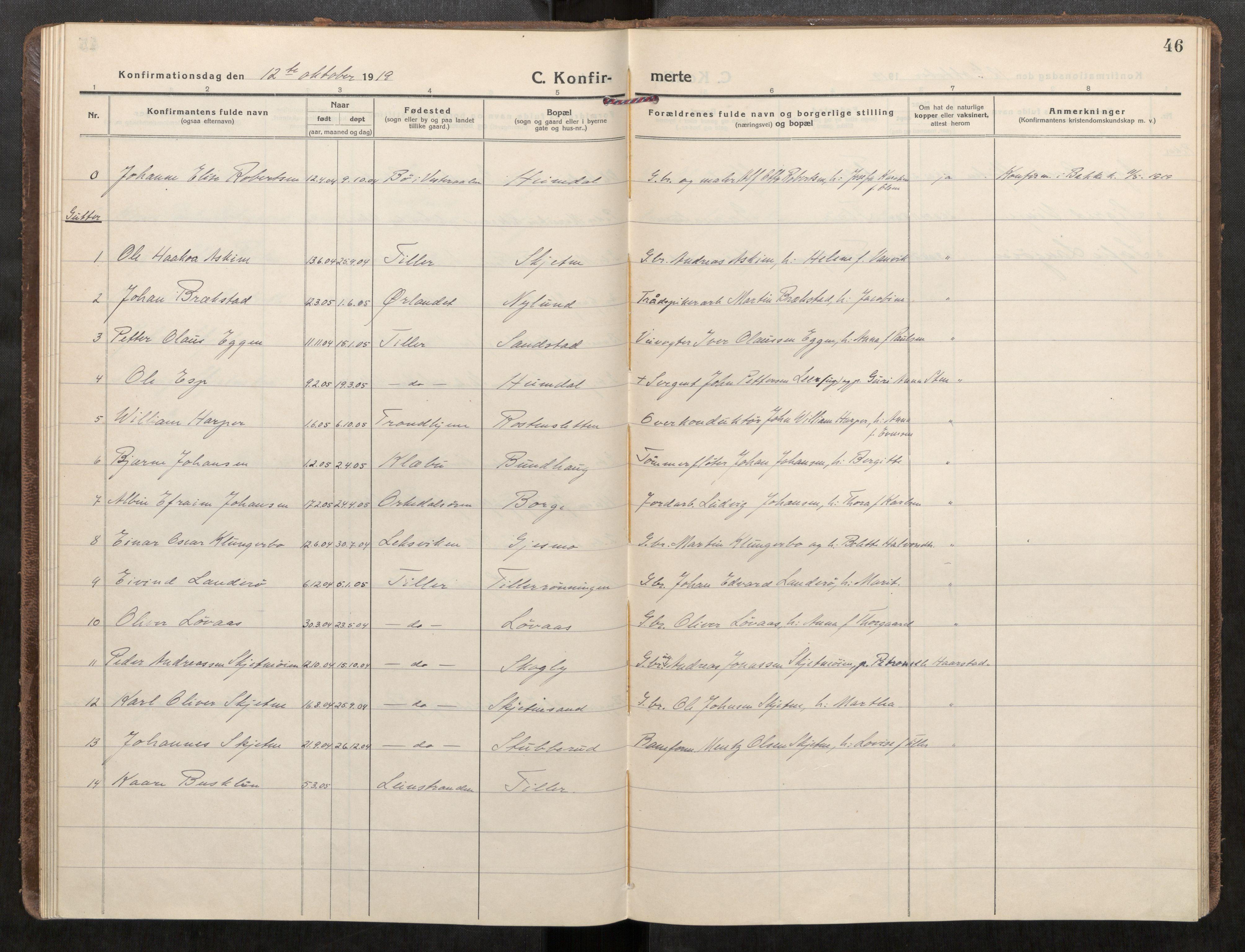 SAT, Klæbu sokneprestkontor, Parish register (official) no. 3, 1917-1924, p. 46