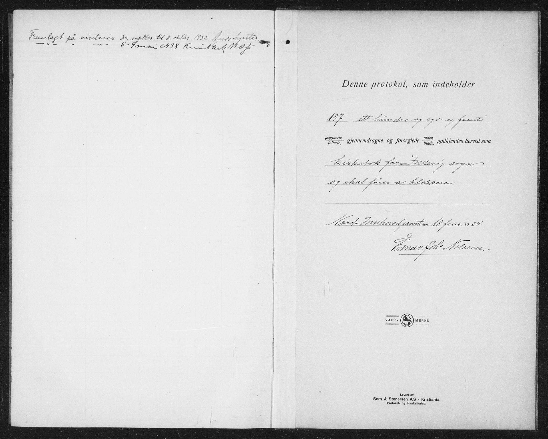 SAT, Ministerialprotokoller, klokkerbøker og fødselsregistre - Nord-Trøndelag, 730/L0303: Parish register (copy) no. 730C06, 1924-1933