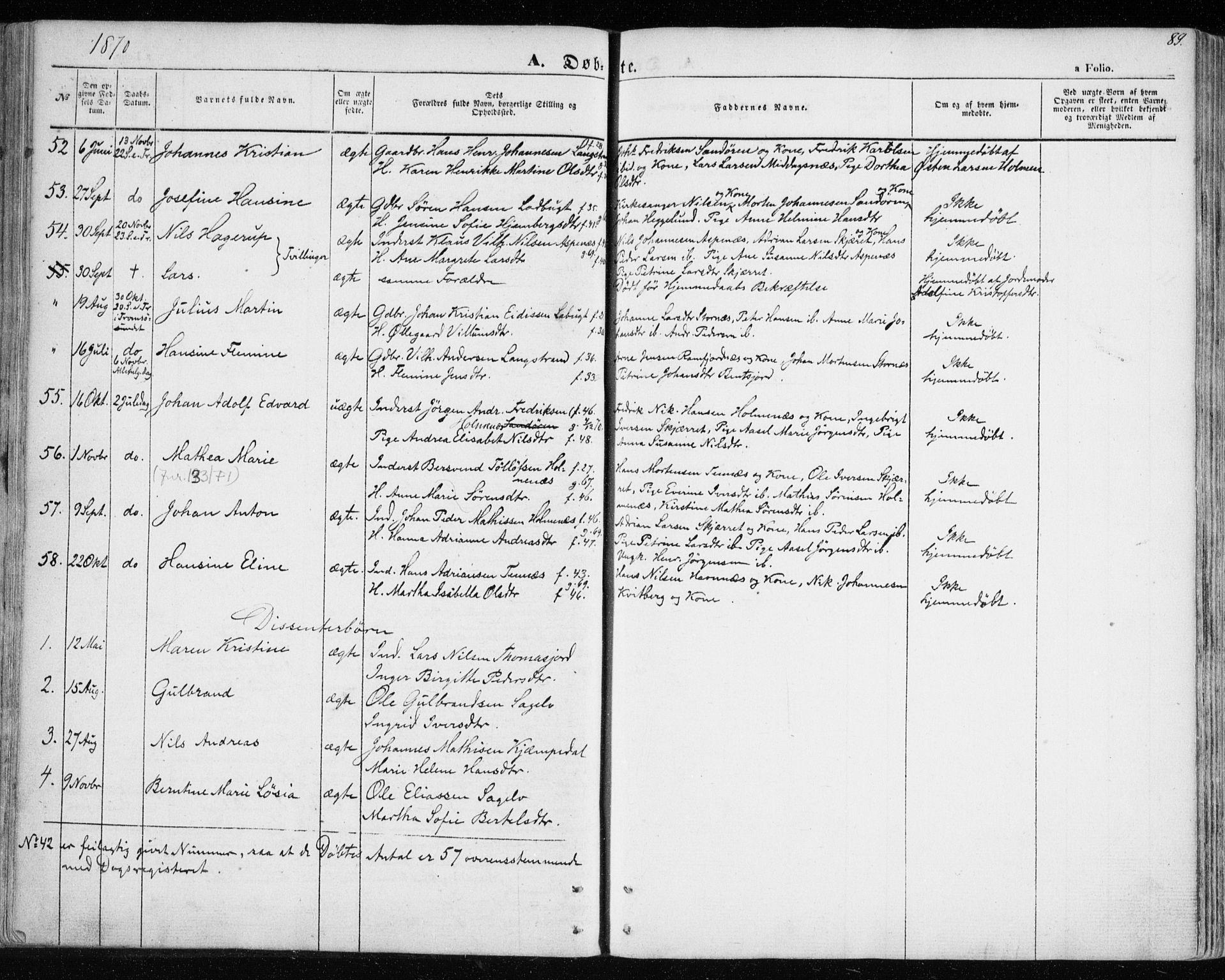SATØ, Balsfjord sokneprestembete, Parish register (official) no. 3, 1856-1870, p. 89