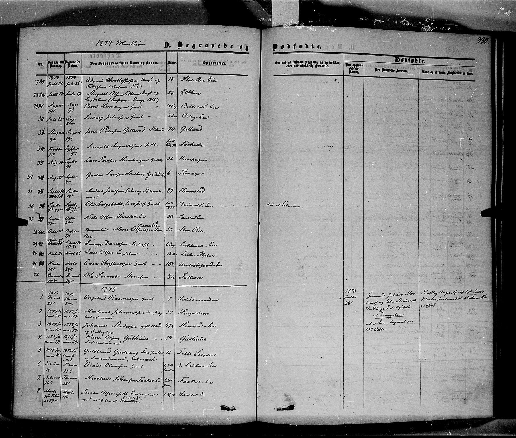 SAH, Stange prestekontor, K/L0013: Parish register (official) no. 13, 1862-1879, p. 330