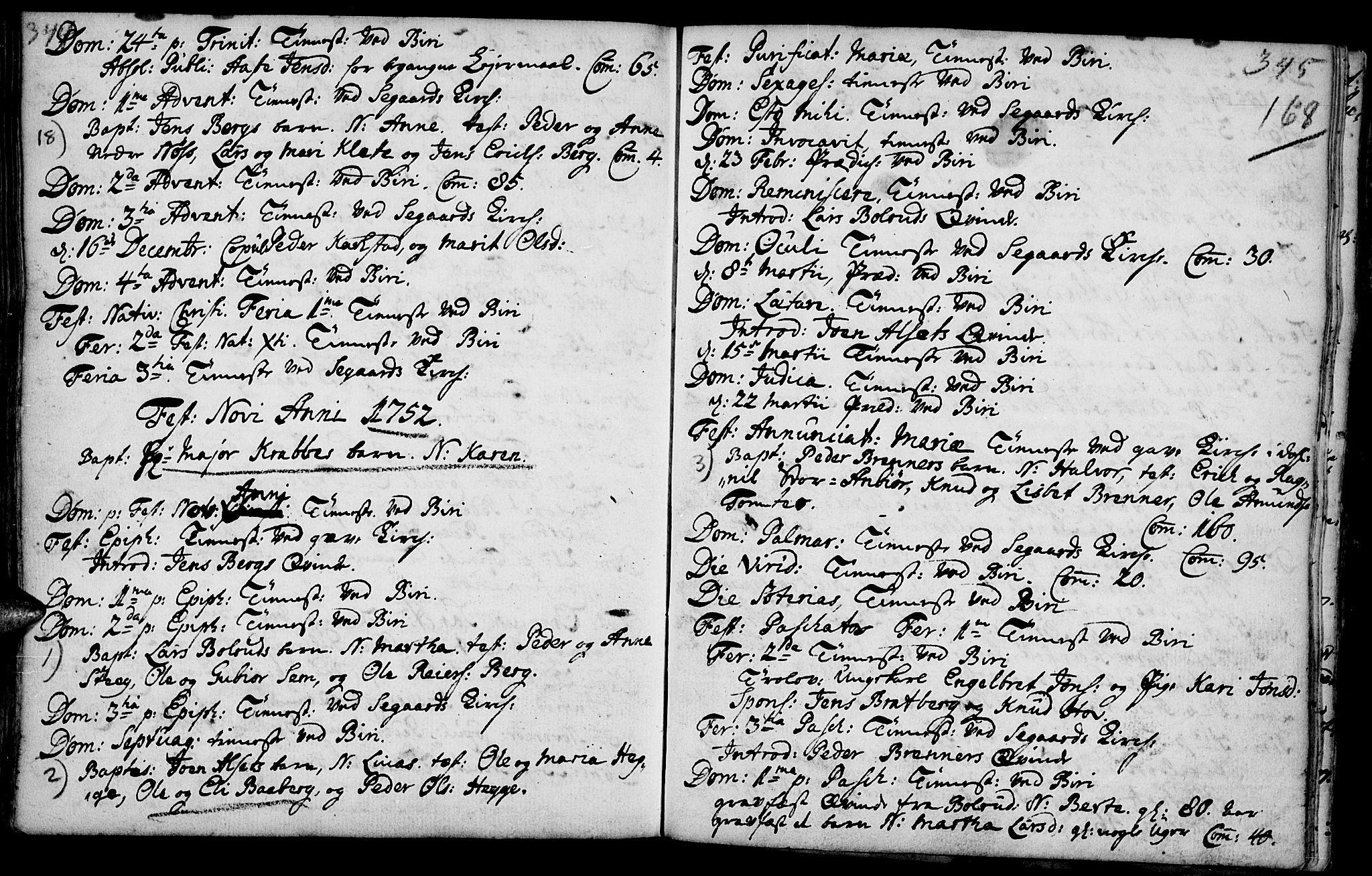 SAH, Biri prestekontor, Parish register (official) no. 1, 1730-1754, p. 168