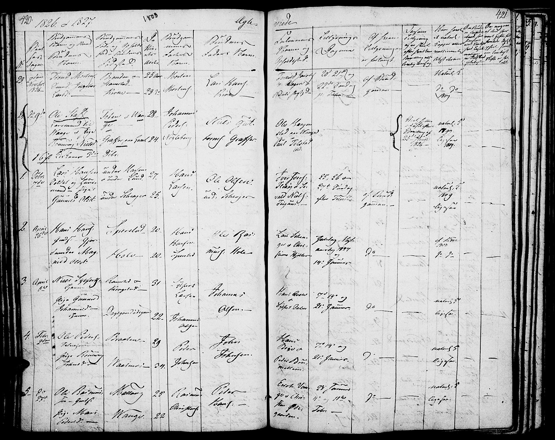 SAH, Lom prestekontor, K/L0005: Parish register (official) no. 5, 1825-1837, p. 420-421