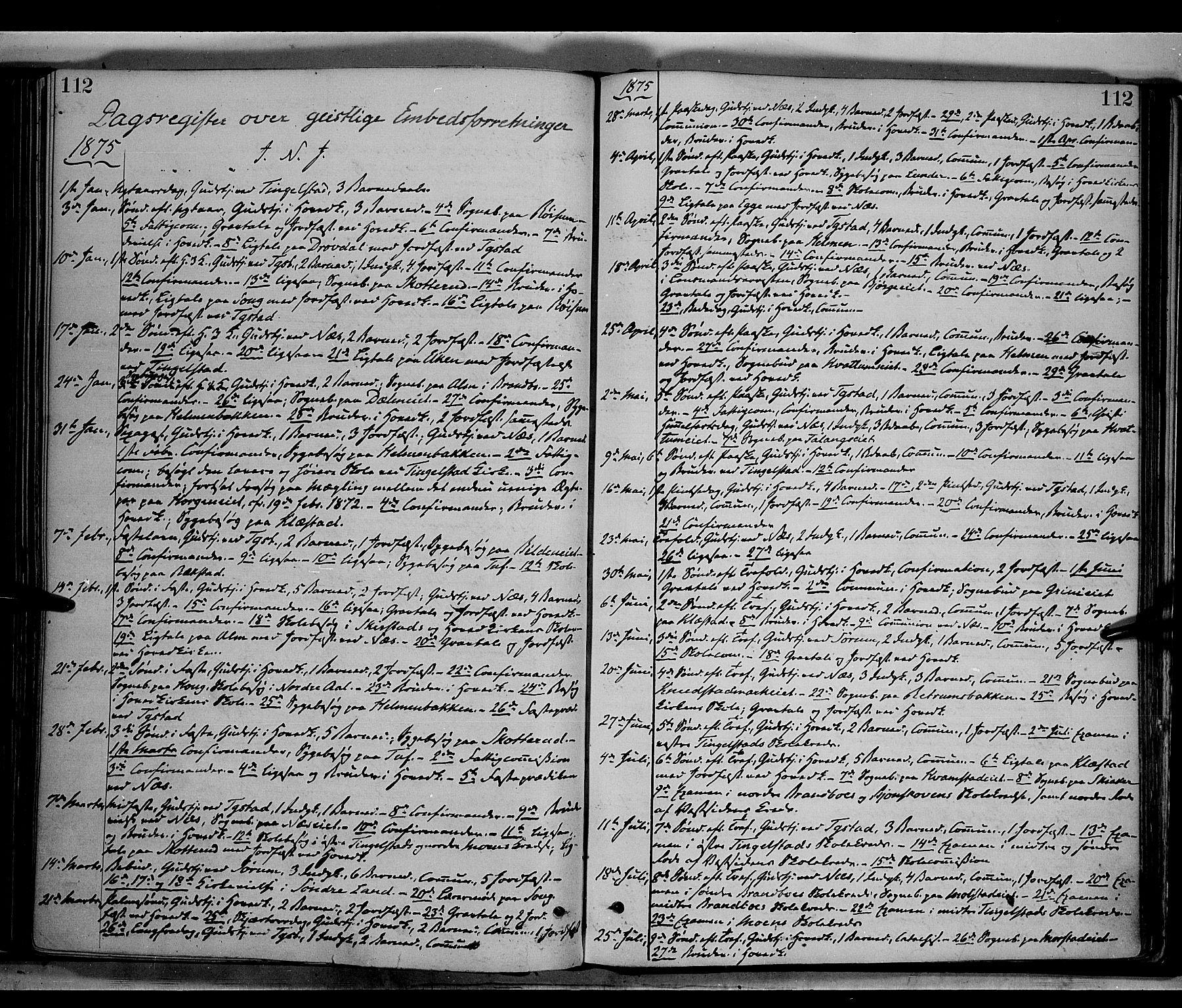 SAH, Gran prestekontor, Parish register (official) no. 13, 1875-1879, p. 112