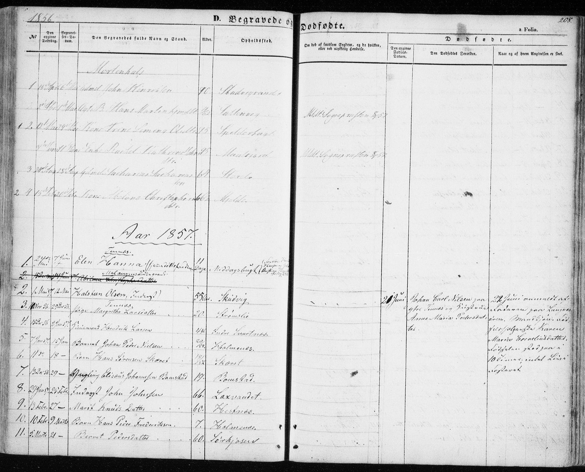 SATØ, Balsfjord sokneprestembete, Parish register (official) no. 3, 1856-1870, p. 208
