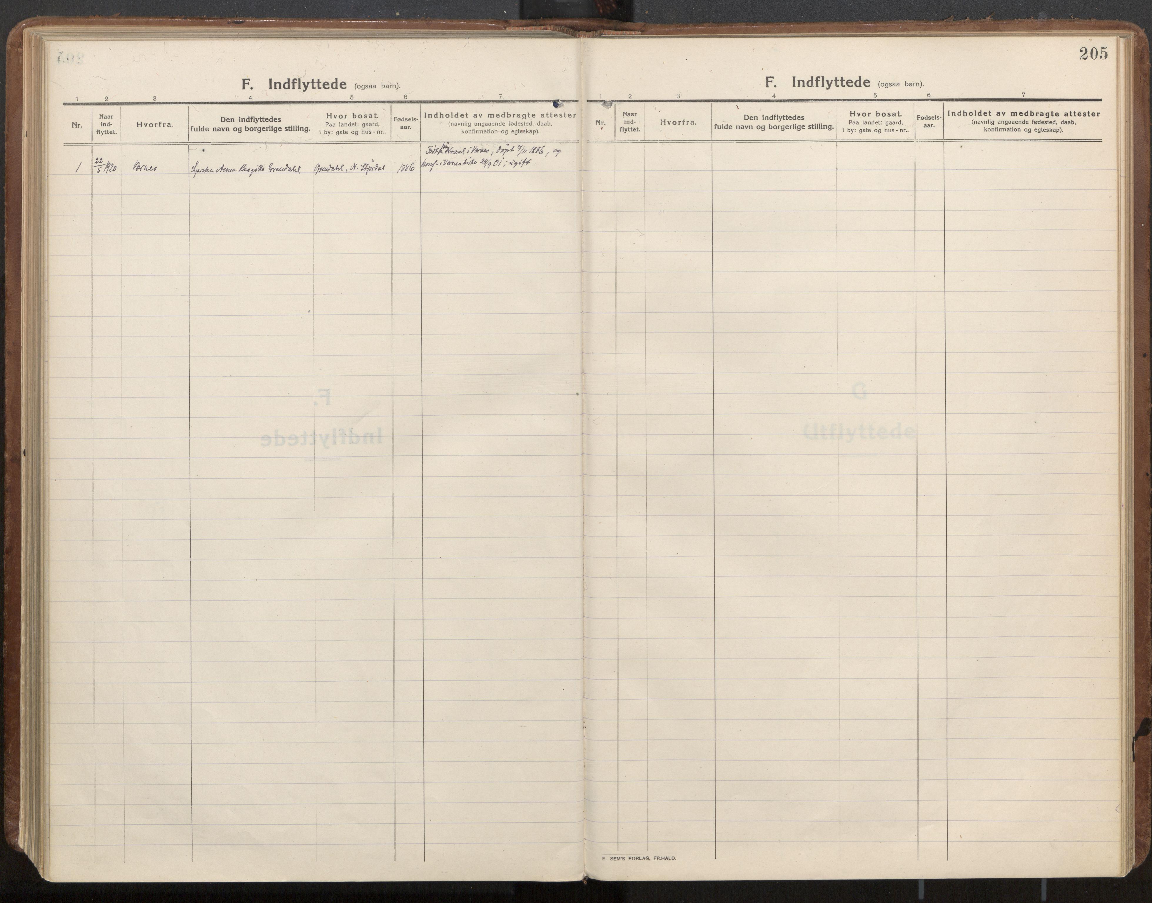 SAT, Ministerialprotokoller, klokkerbøker og fødselsregistre - Nord-Trøndelag, 703/L0037: Parish register (official) no. 703A10, 1915-1932, p. 205