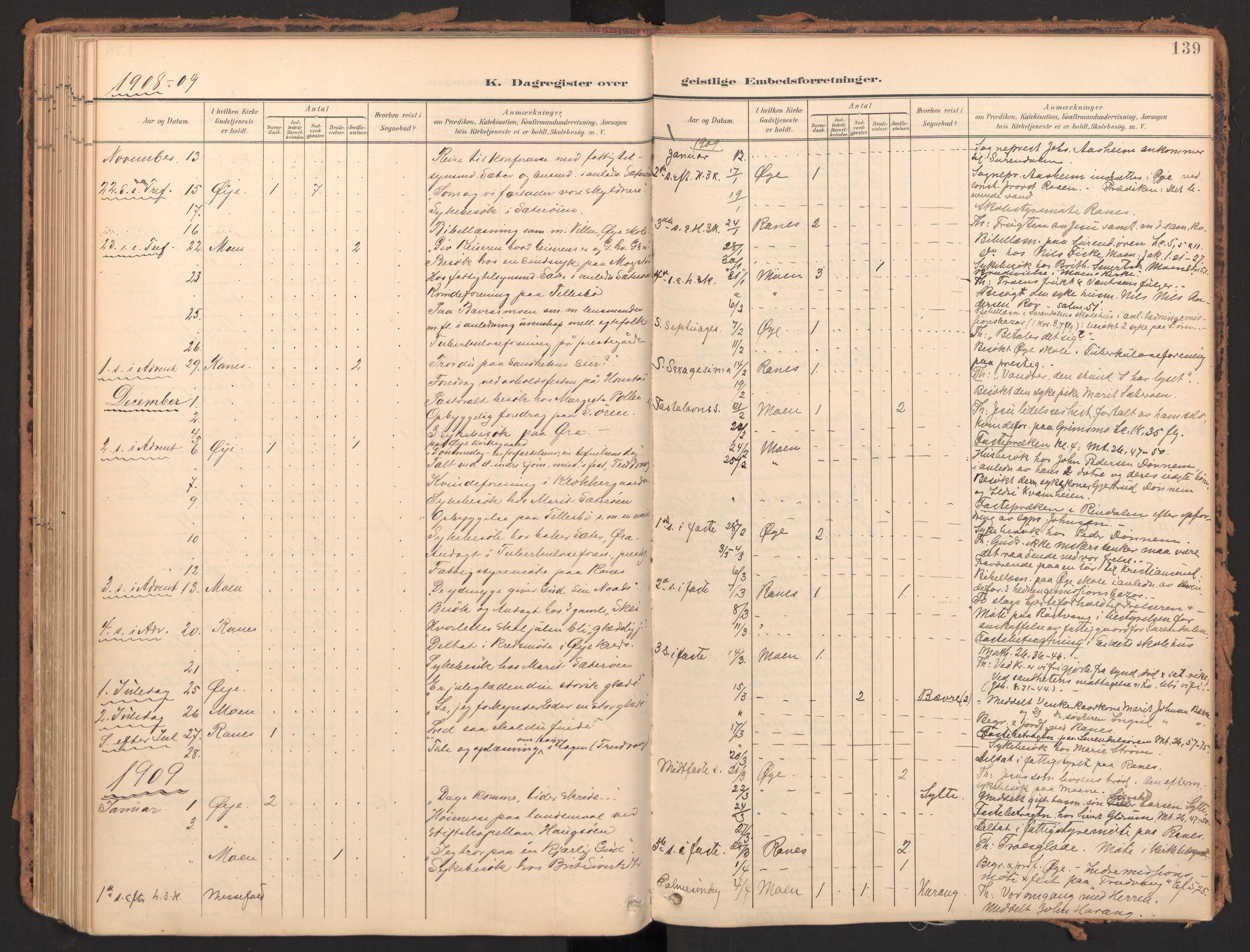 SAT, Ministerialprotokoller, klokkerbøker og fødselsregistre - Møre og Romsdal, 595/L1048: Parish register (official) no. 595A10, 1900-1917, p. 139
