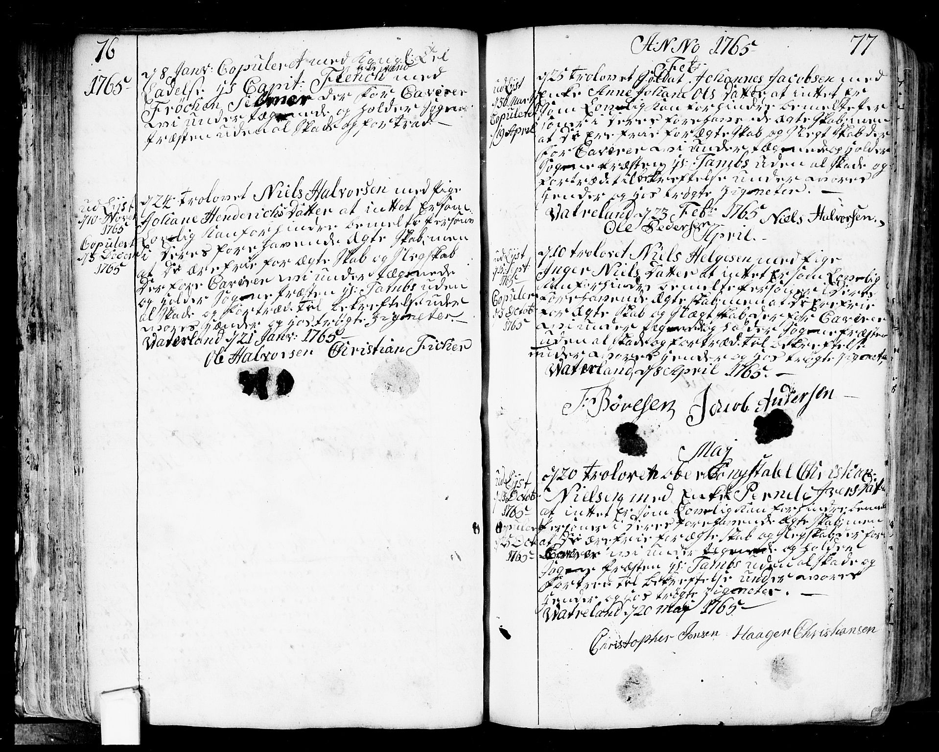 SAO, Fredrikstad prestekontor Kirkebøker, F/Fa/L0002: Parish register (official) no. 2, 1750-1804, p. 76-77