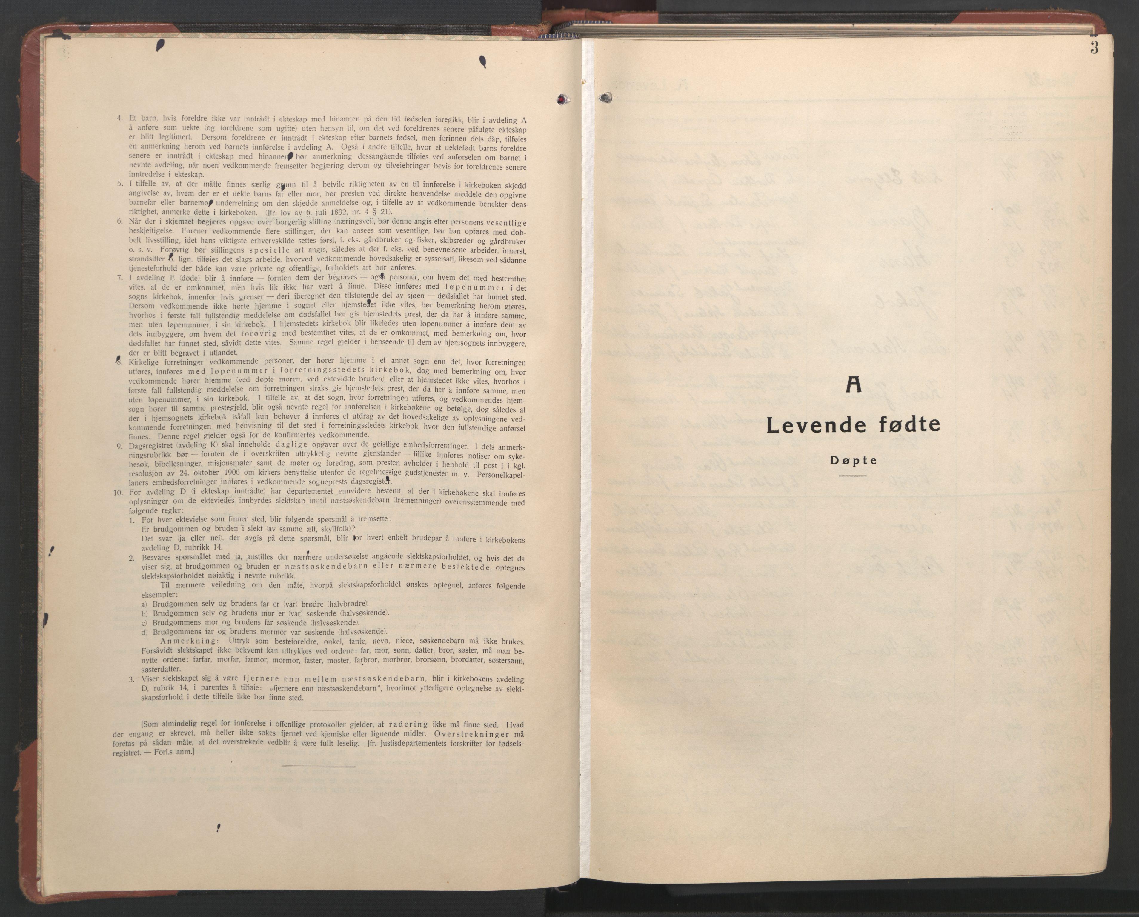 SAT, Ministerialprotokoller, klokkerbøker og fødselsregistre - Nordland, 801/L0039: Parish register (copy) no. 801C14, 1937-1951, p. 3