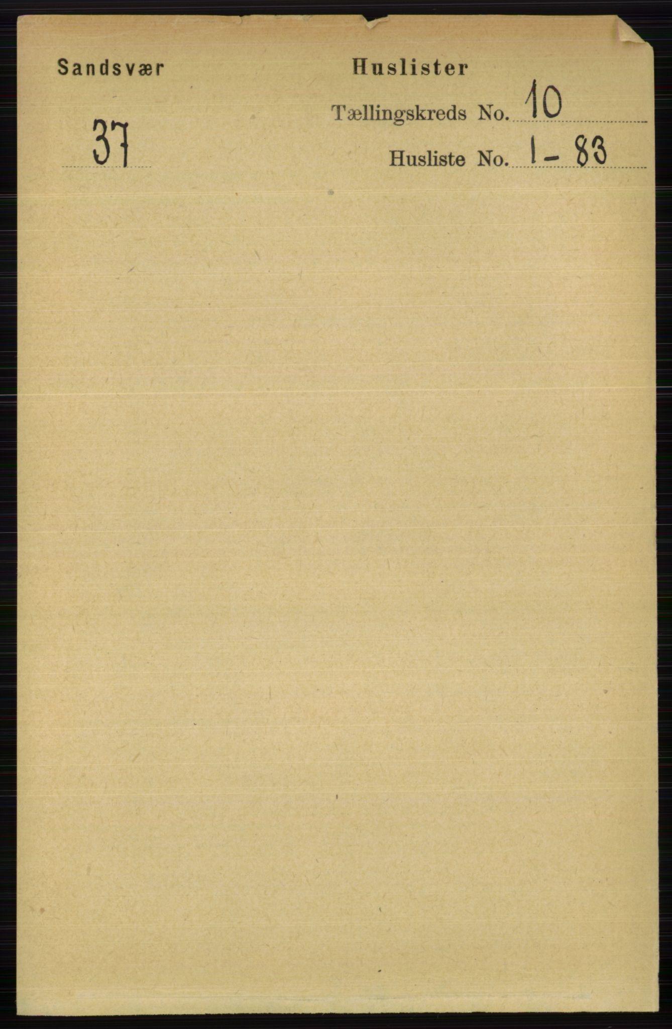 RA, 1891 census for 0629 Sandsvær, 1891, p. 4834