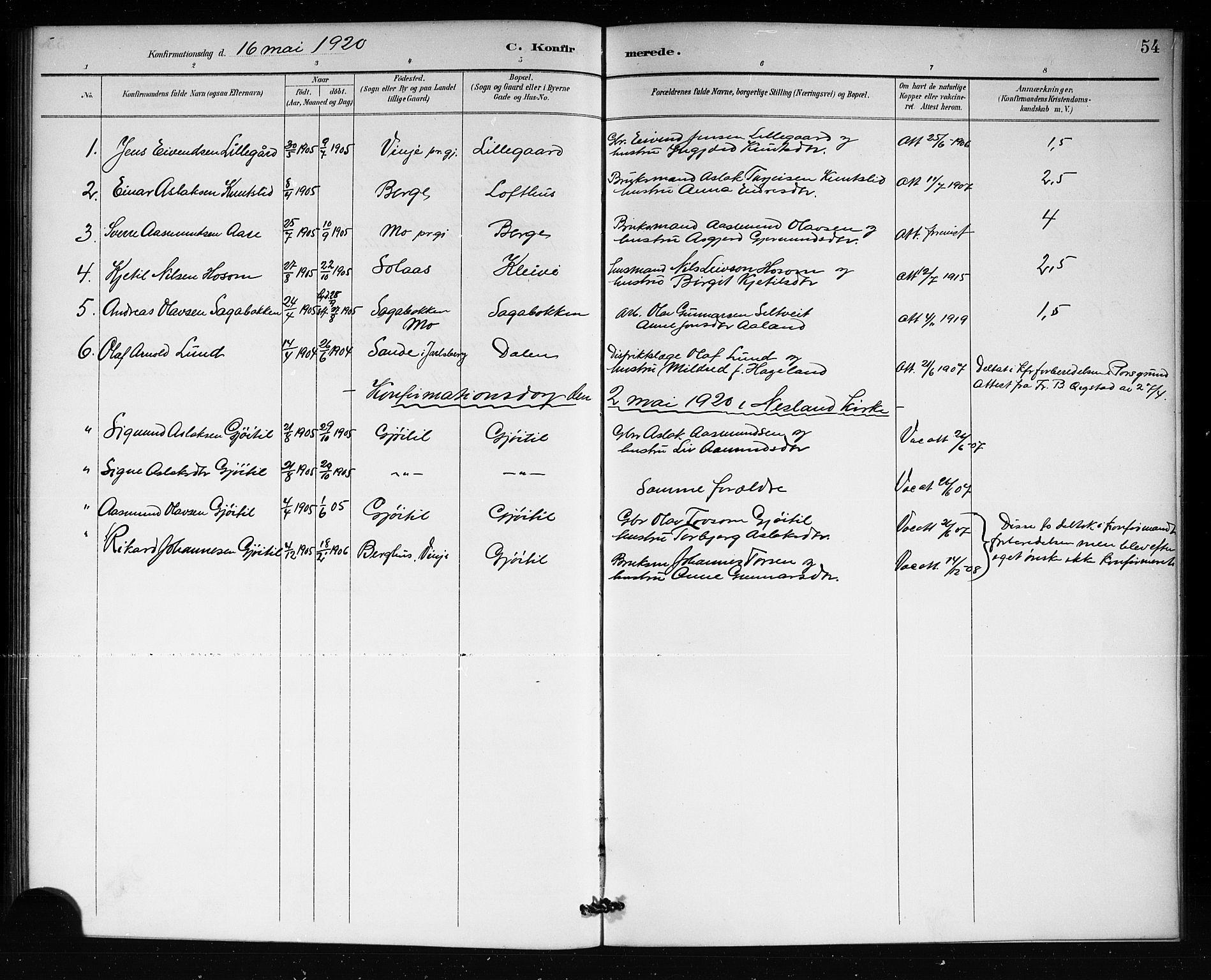 SAKO, Lårdal kirkebøker, G/Gb/L0003: Parish register (copy) no. II 3, 1889-1920, p. 54