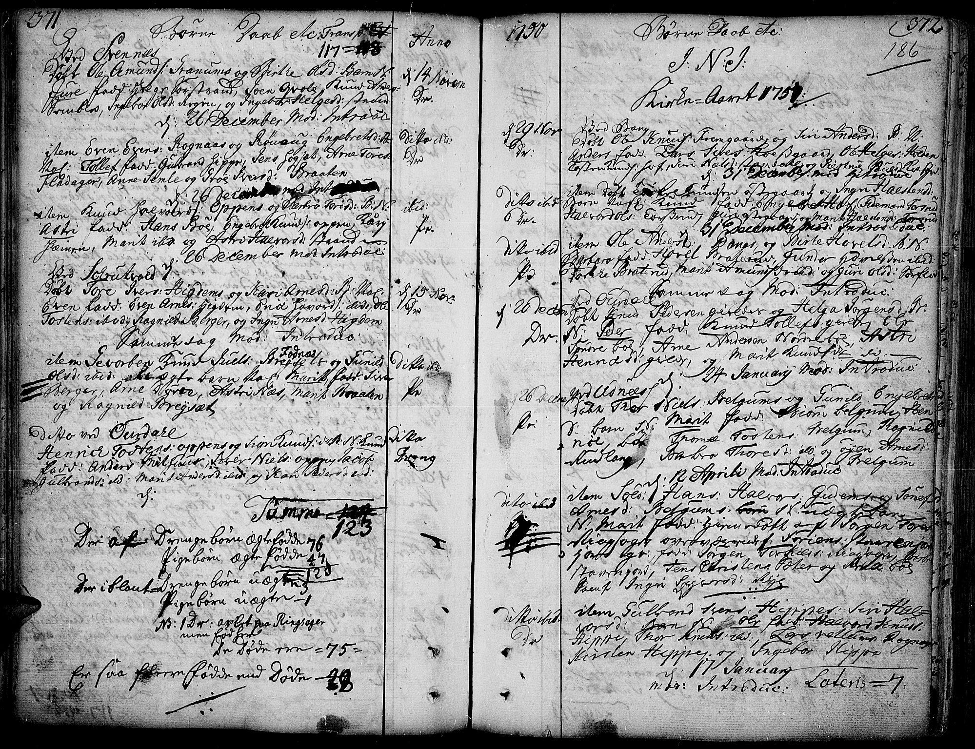 SAH, Aurdal prestekontor, Parish register (official) no. 4, 1730-1762, p. 371-372