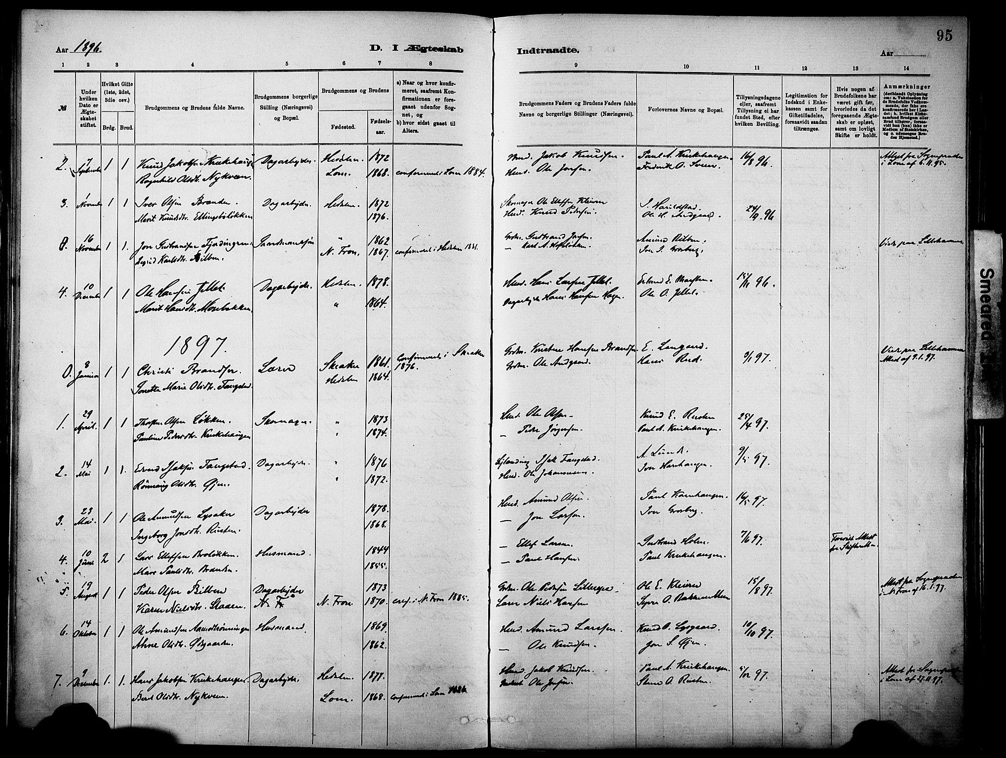 SAH, Vågå prestekontor, Parish register (official) no. 10, 1887-1904, p. 95