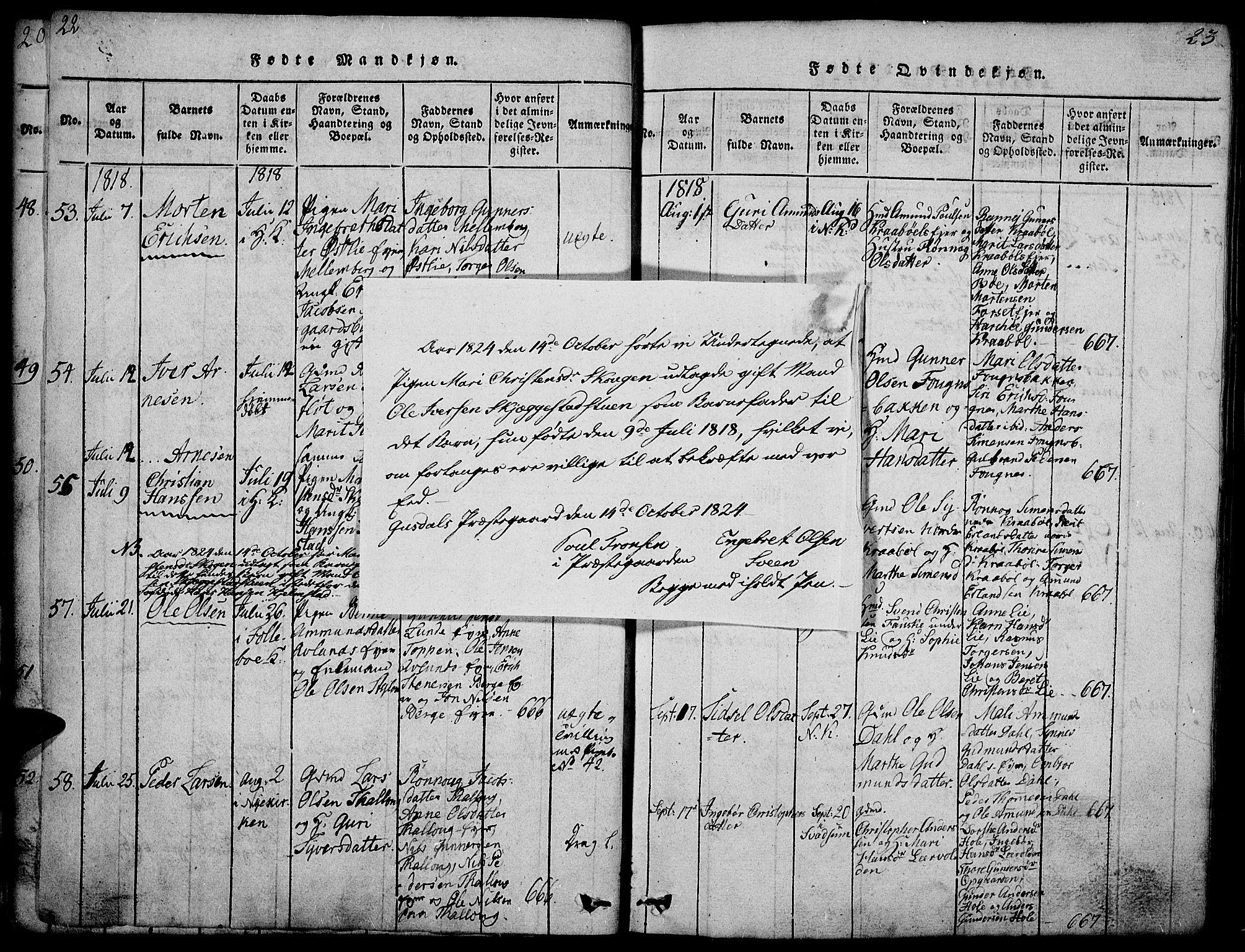SAH, Gausdal prestekontor, Parish register (official) no. 5, 1817-1829, p. 22-23