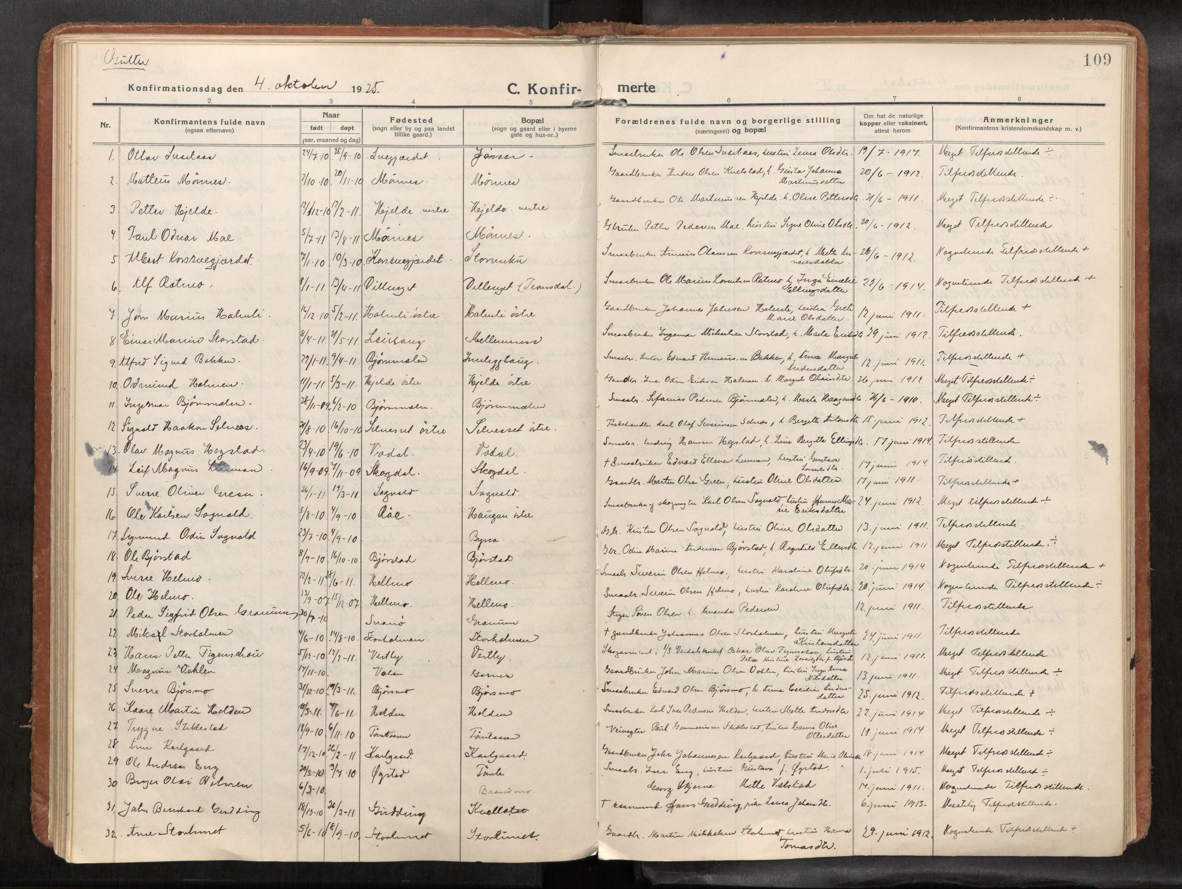 SAT, Verdal sokneprestkontor*, Parish register (official) no. 1, 1916-1928, p. 109