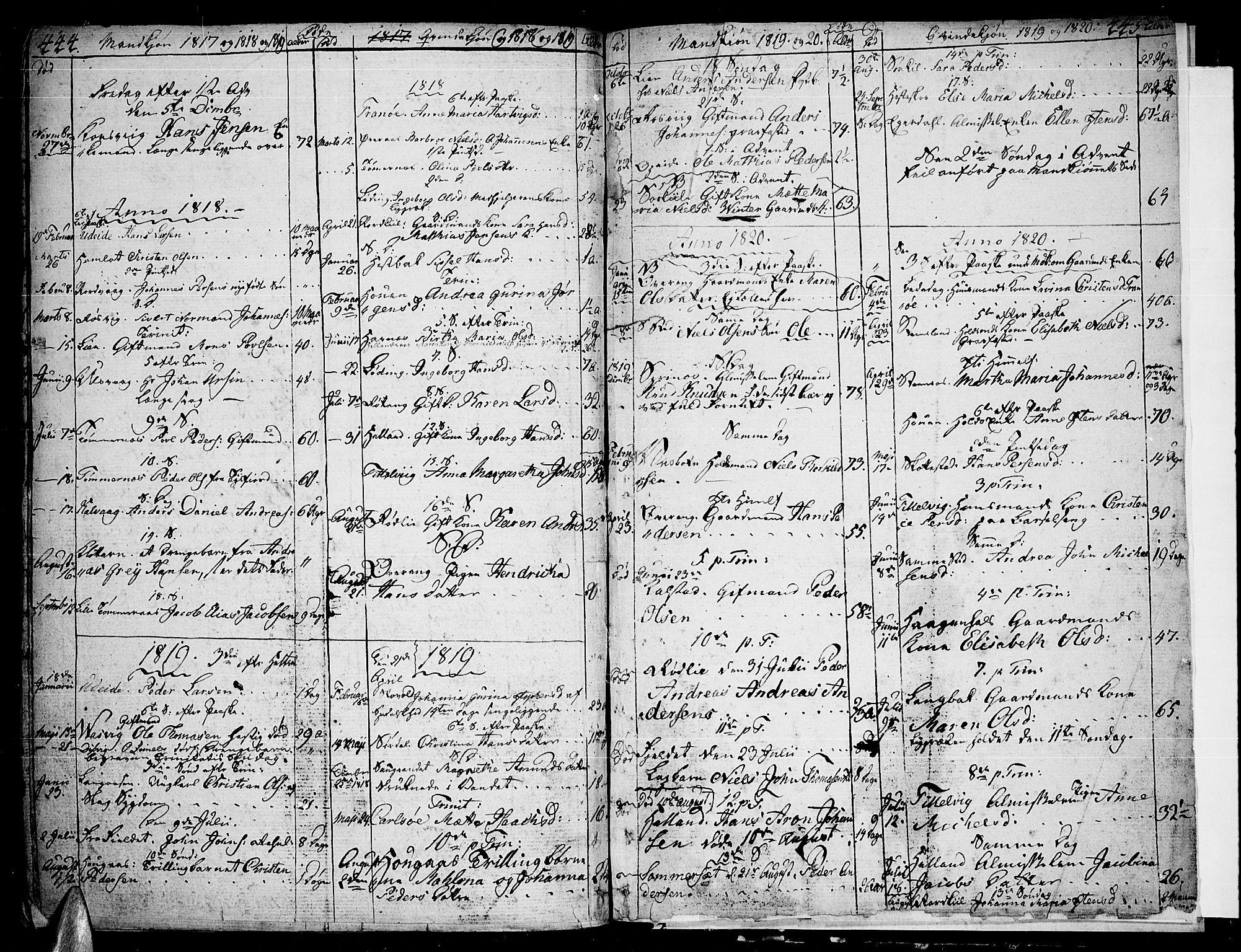 SAT, Ministerialprotokoller, klokkerbøker og fødselsregistre - Nordland, 859/L0841: Parish register (official) no. 859A01, 1766-1821, p. 444-445