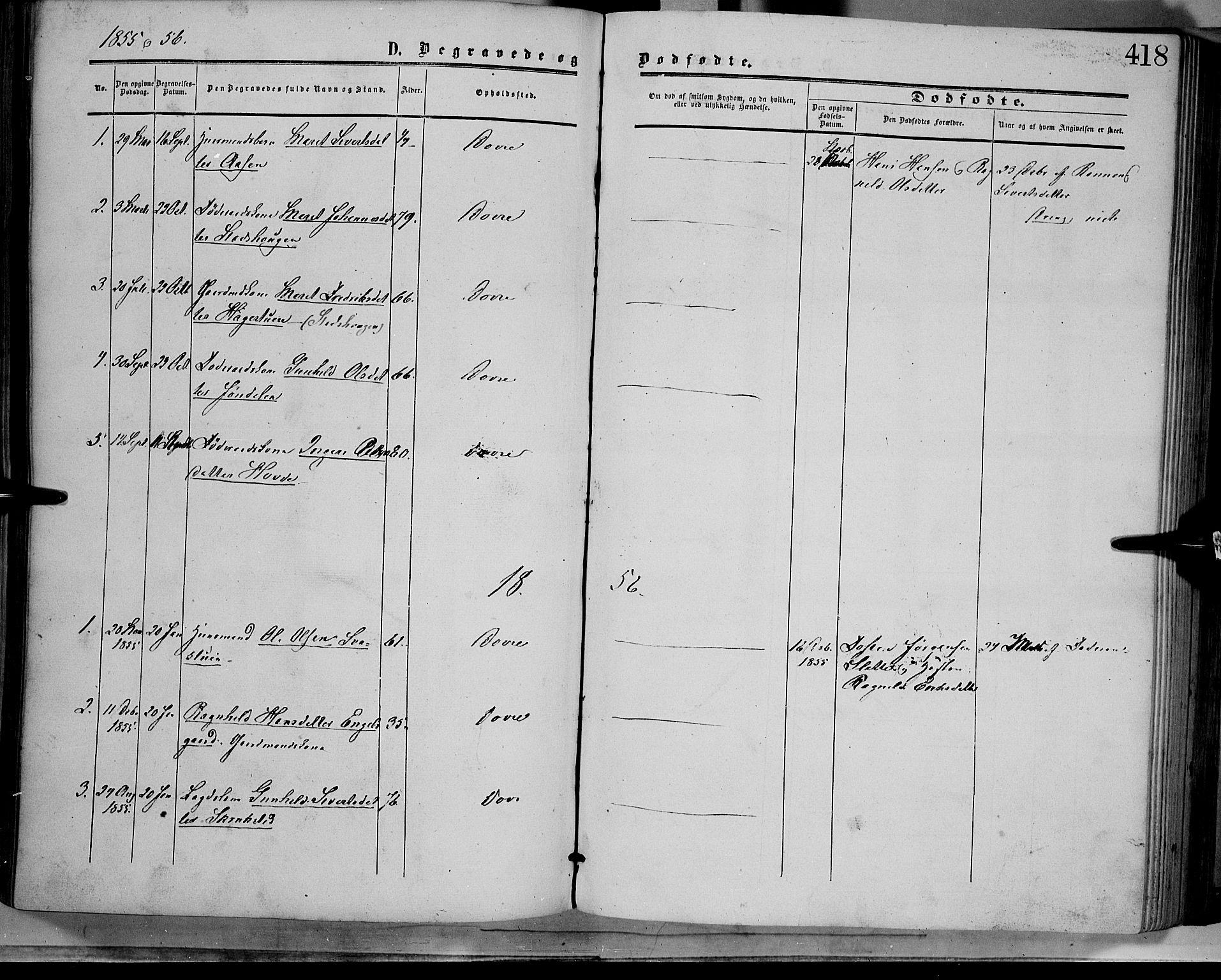 SAH, Dovre prestekontor, Parish register (official) no. 1, 1854-1878, p. 418