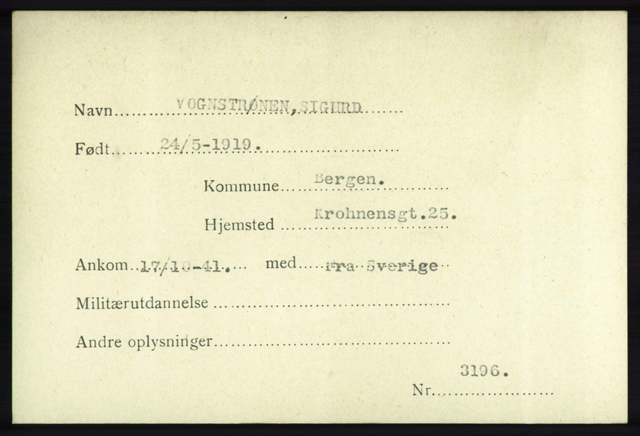 NHM, Forsvarets Overkommando. 2. kontor. Arkiv 8.1. Mottakersentralen FDE og FO.II, P/Pa/L0021: Kortsamling, 1940-1945