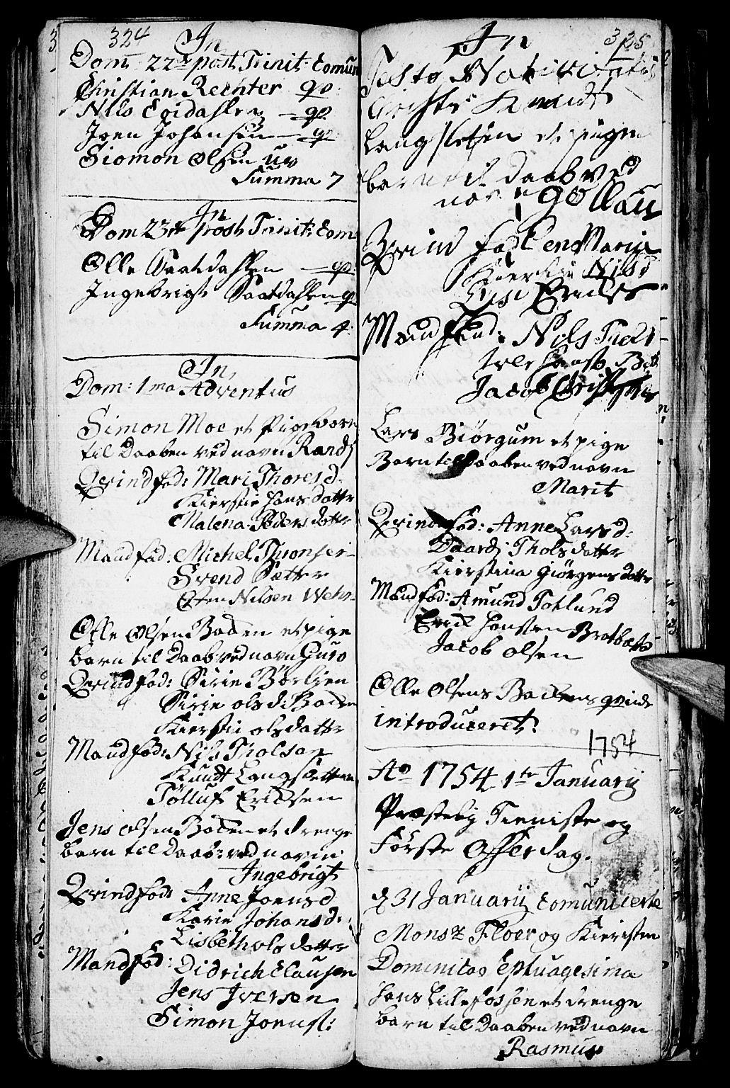 SAH, Kvikne prestekontor, Parish register (official) no. 1, 1740-1756, p. 324-325
