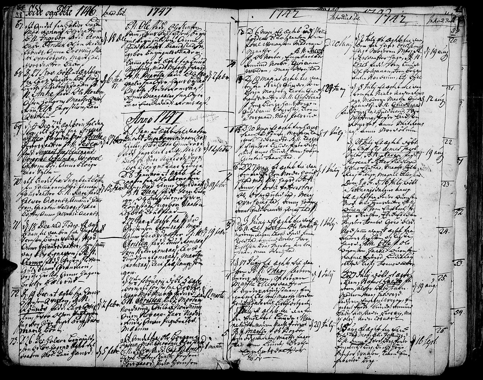 SAH, Ringebu prestekontor, Parish register (official) no. 2, 1734-1780, p. 38-39