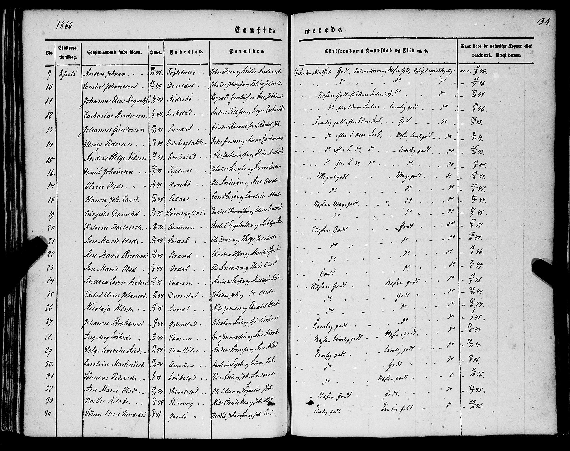 SAB, Jølster sokneprestembete, H/Haa/Haaa/L0010: Parish register (official) no. A 10, 1847-1865, p. 34