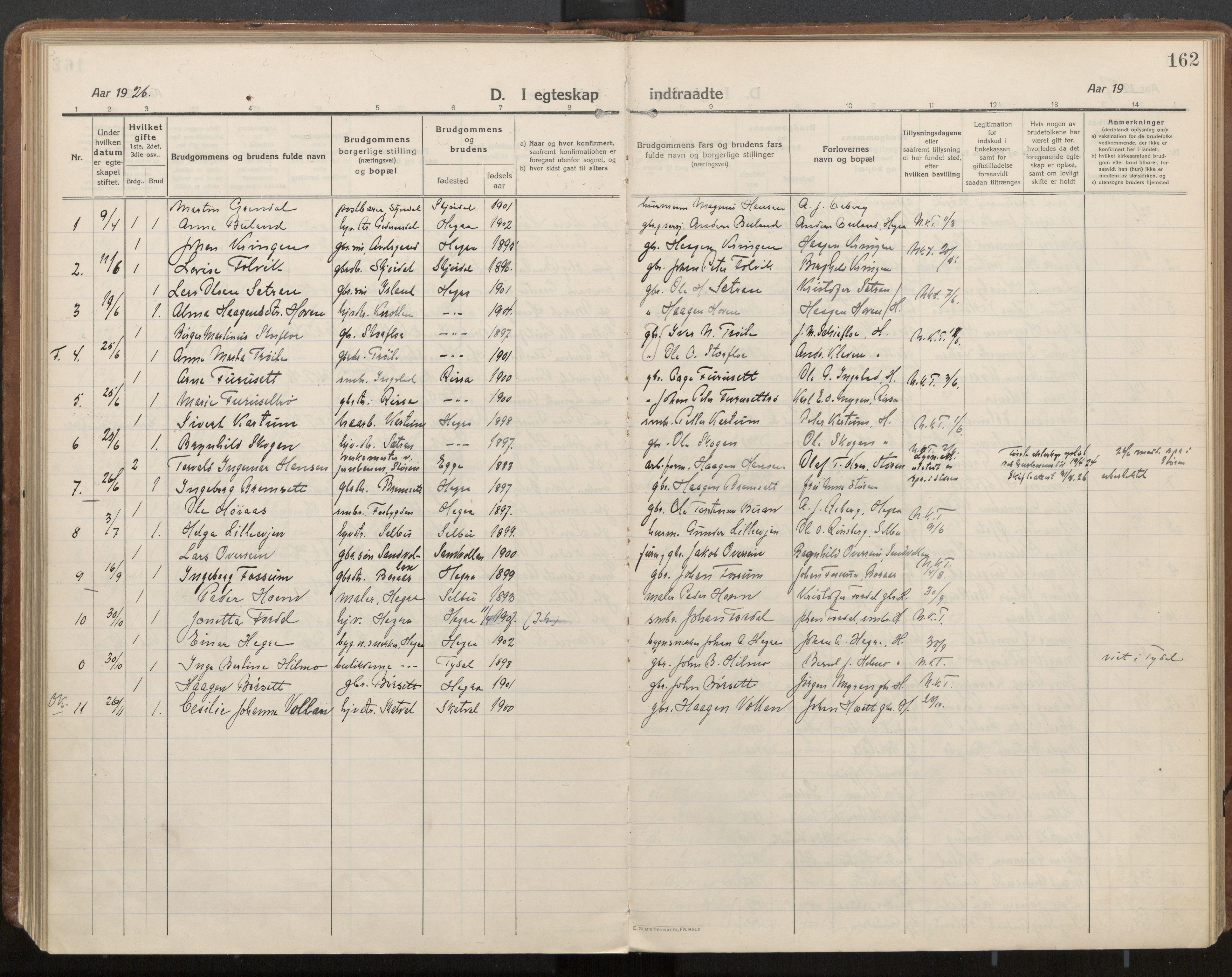 SAT, Ministerialprotokoller, klokkerbøker og fødselsregistre - Nord-Trøndelag, 703/L0037: Parish register (official) no. 703A10, 1915-1932, p. 162