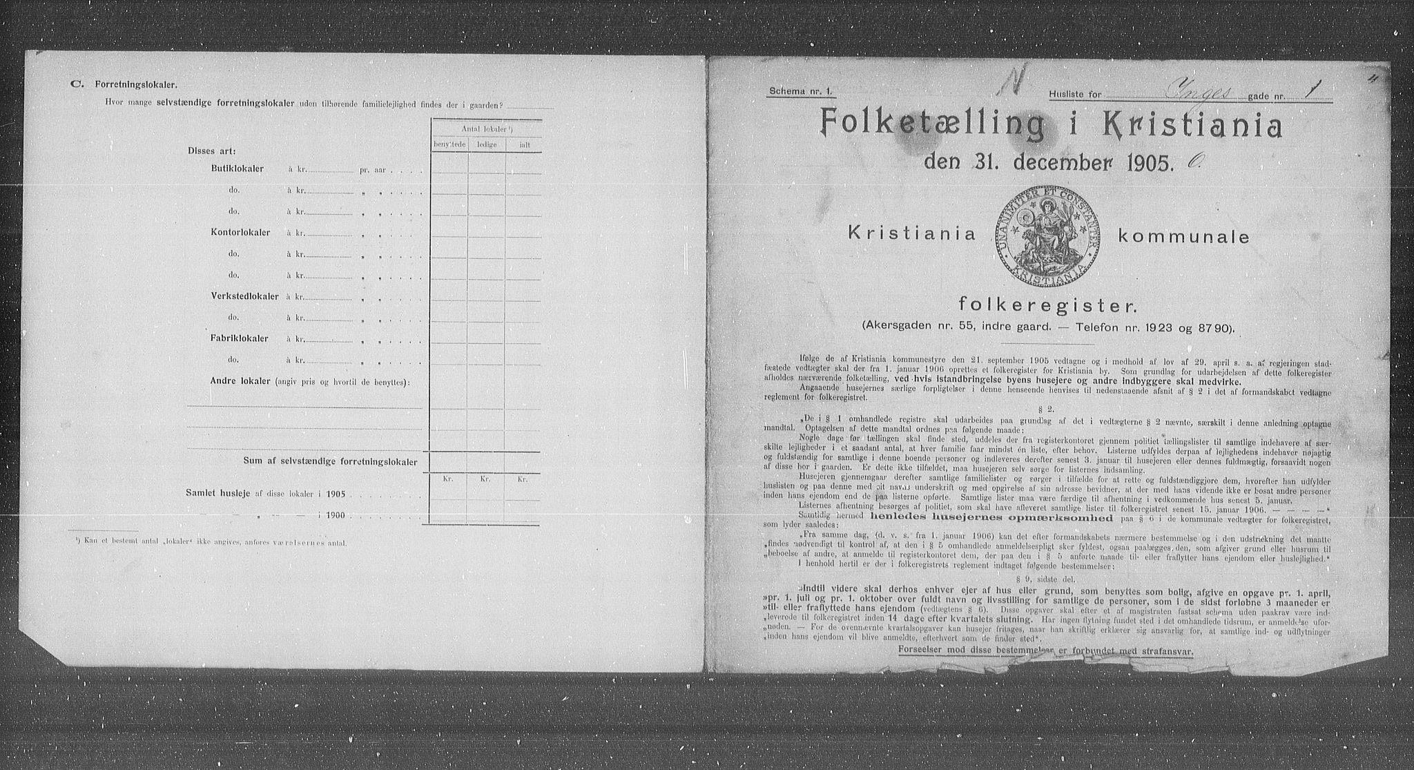 OBA, Municipal Census 1905 for Kristiania, 1905, p. 23127
