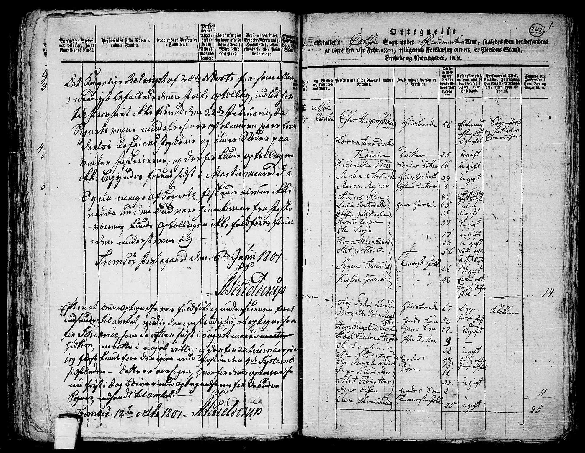RA, 1801 census for 1936P Karlsøy, 1801, p. 242b-243a