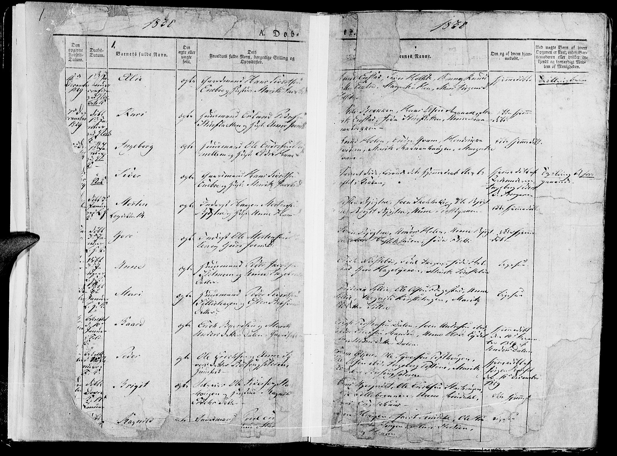SAH, Lesja prestekontor, Parish register (official) no. 5, 1830-1842, p. 1