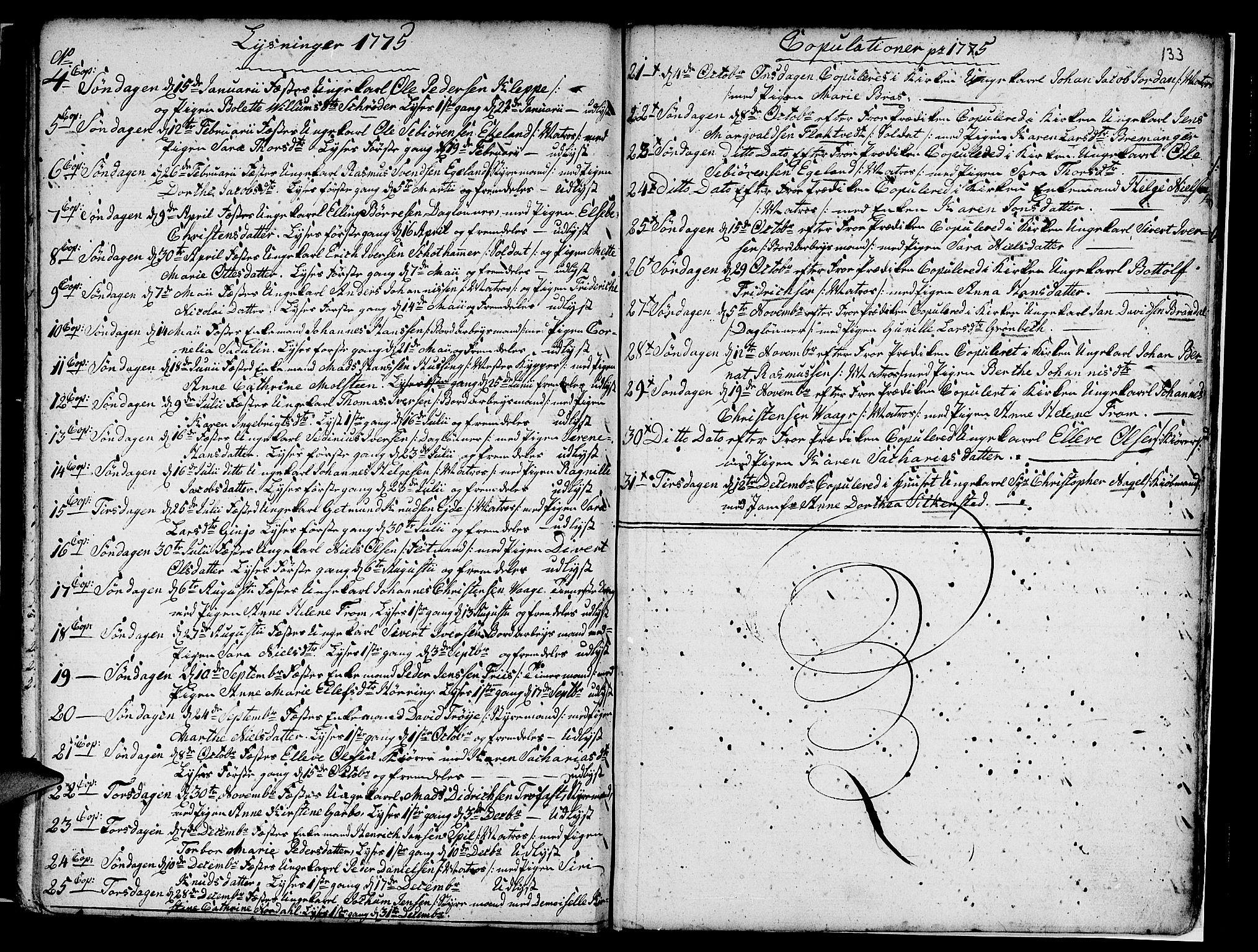 SAB, Nykirken Sokneprestembete, H/Haa: Parish register (official) no. A 7, 1719-1781, p. 133