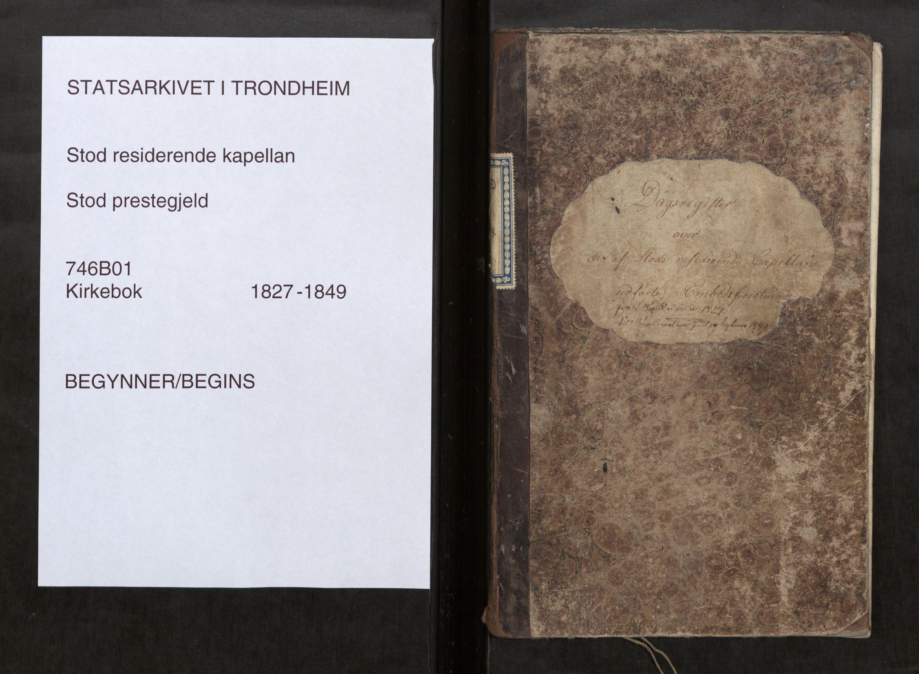 SAT, Stod sokneprestkontor, I/I1/I1d/L0001: Curate's parish register no. 1, 1827-1849