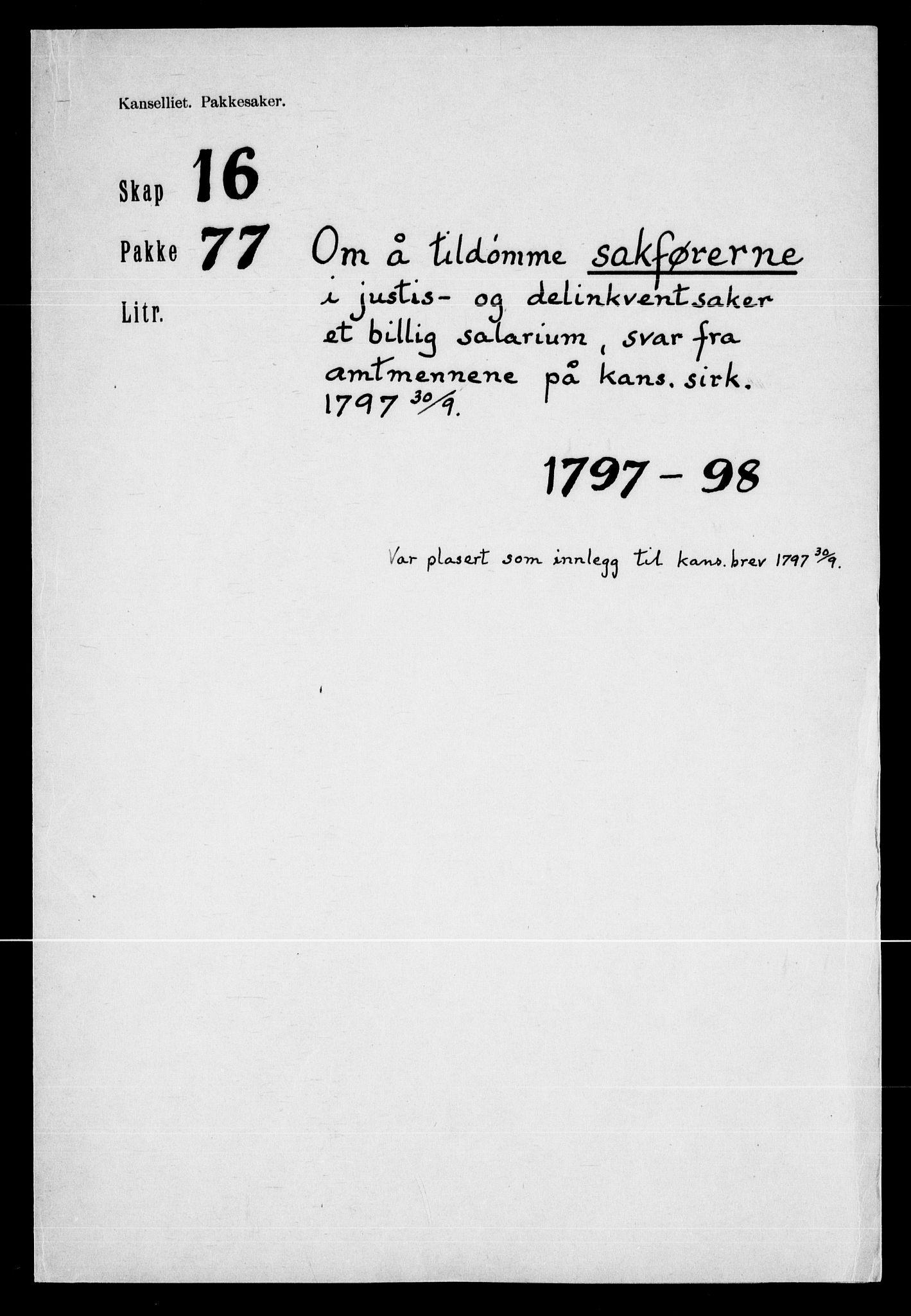 RA, Danske Kanselli, Skapsaker, F/L0128: Skap 16, pakke 77-81, 1797-1804, p. 2