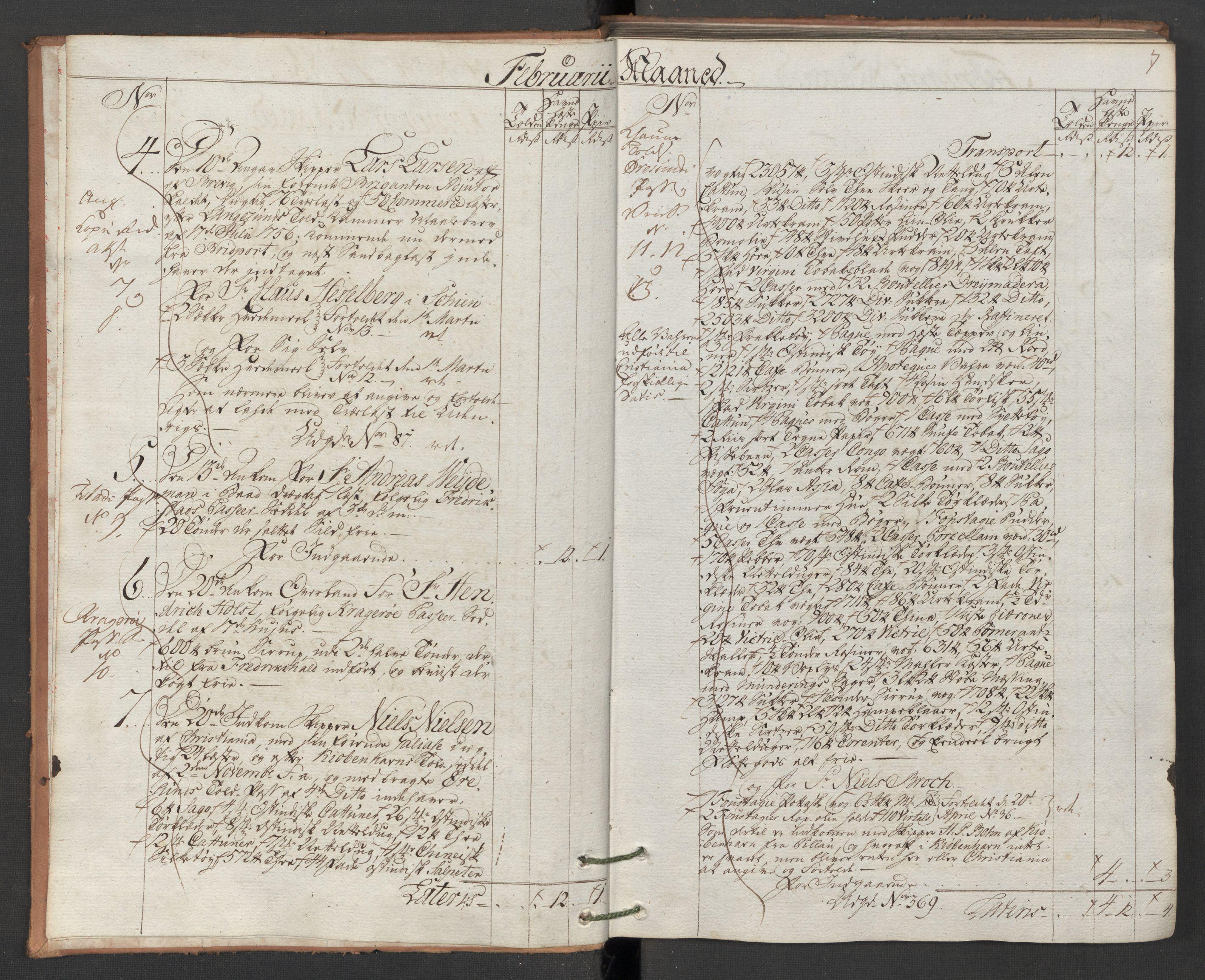 RA, Generaltollkammeret, tollregnskaper, R12/L0118: Tollregnskaper Langesund, 1786, p. 2b-3a